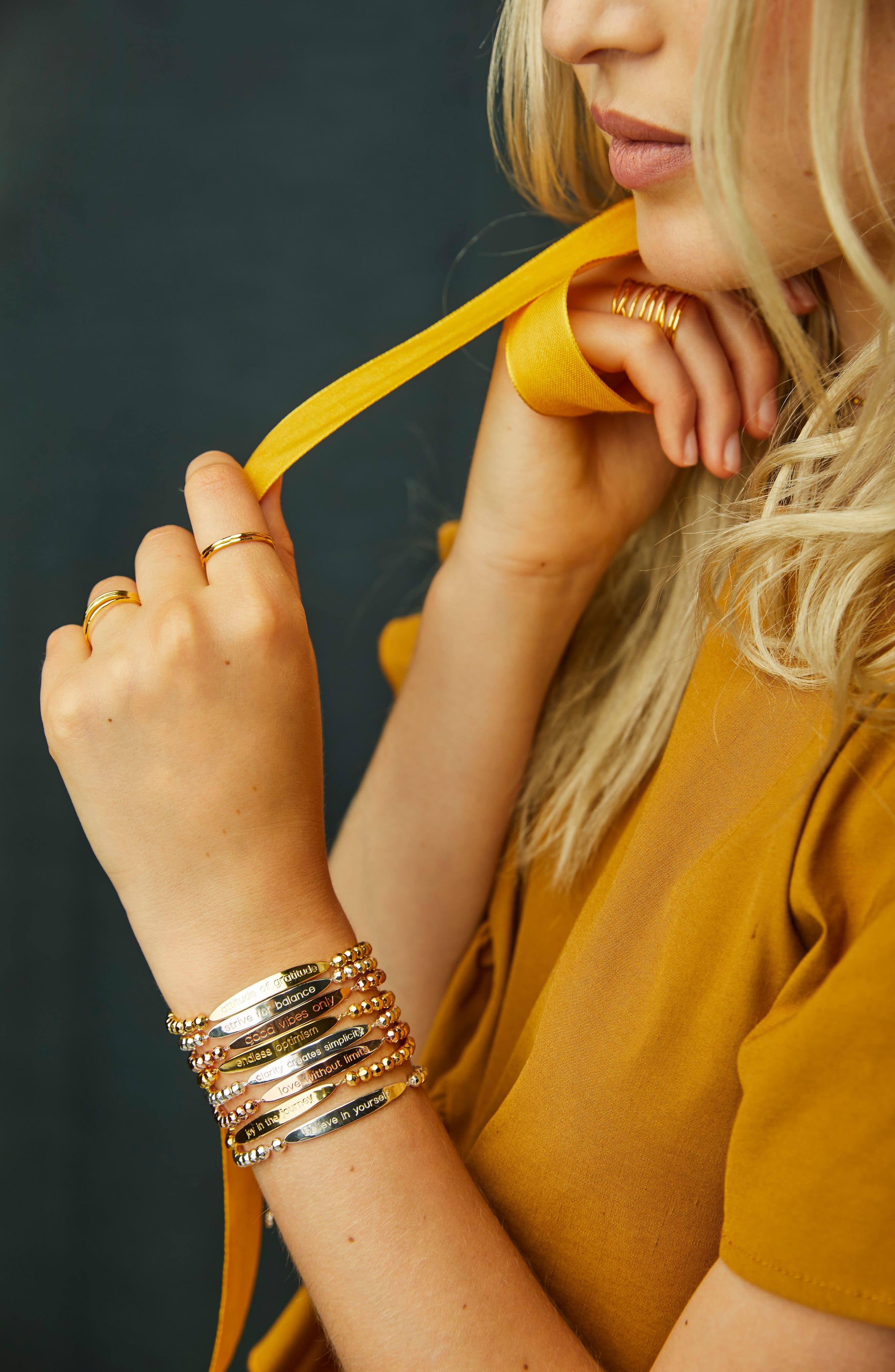 Power Intention Attitude of Gratitude Bangle Bracelet,                             Alternate thumbnail 2, color,                             Gold