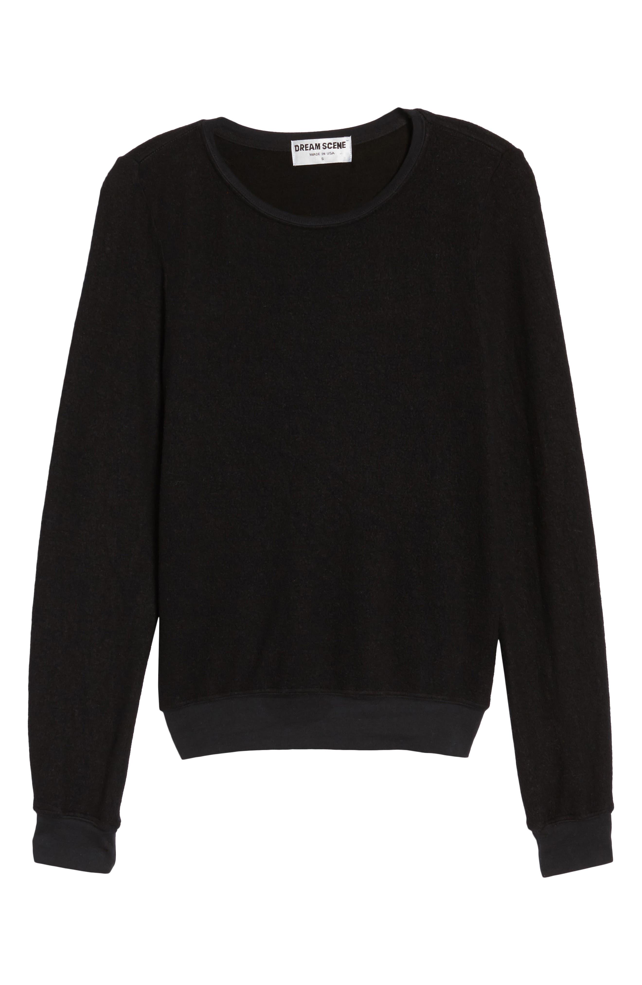 Sweatshirt,                             Alternate thumbnail 6, color,                             Jet Black