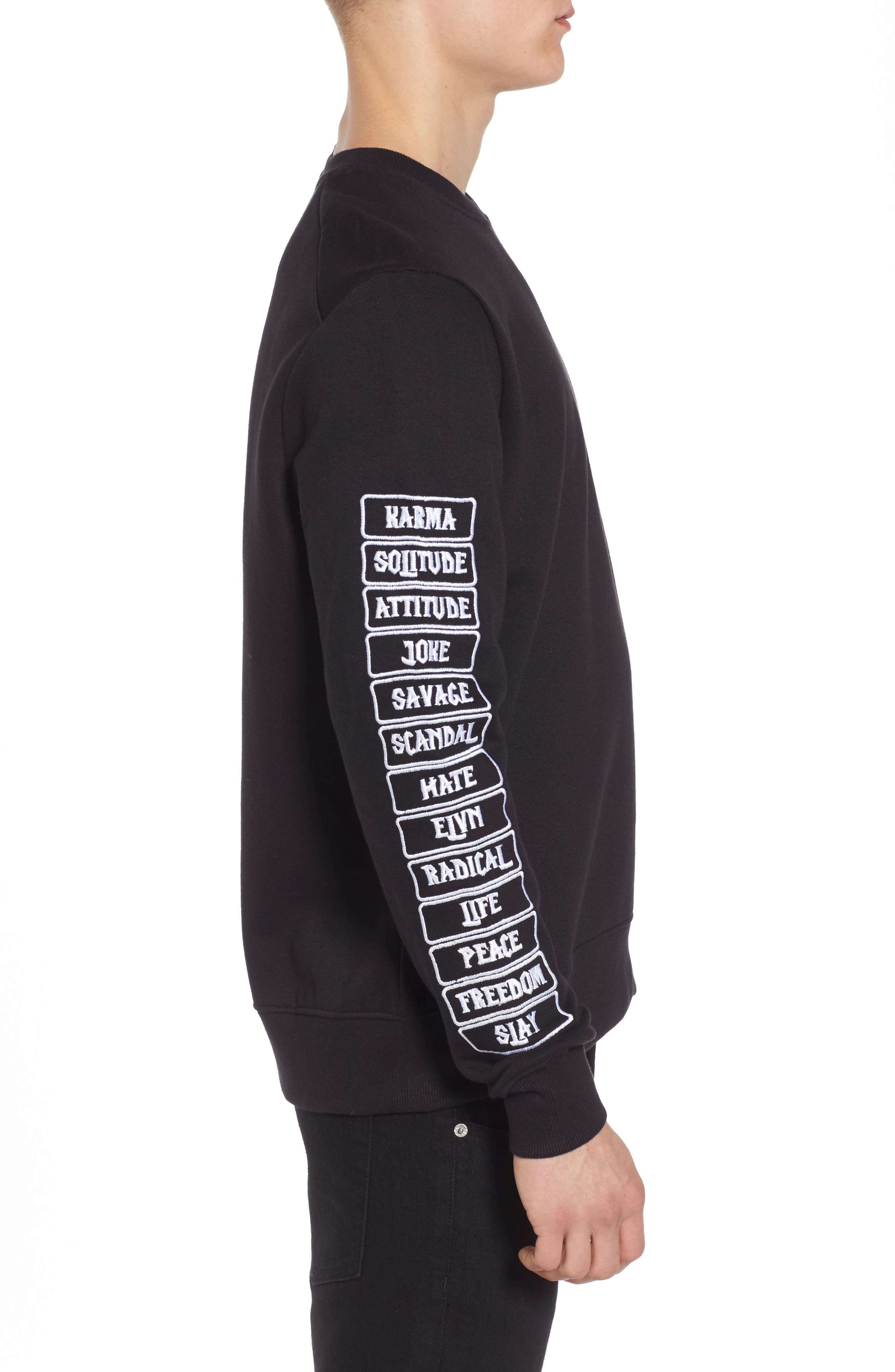 Meace Fleece Sweatshirt,                             Alternate thumbnail 3, color,                             Black
