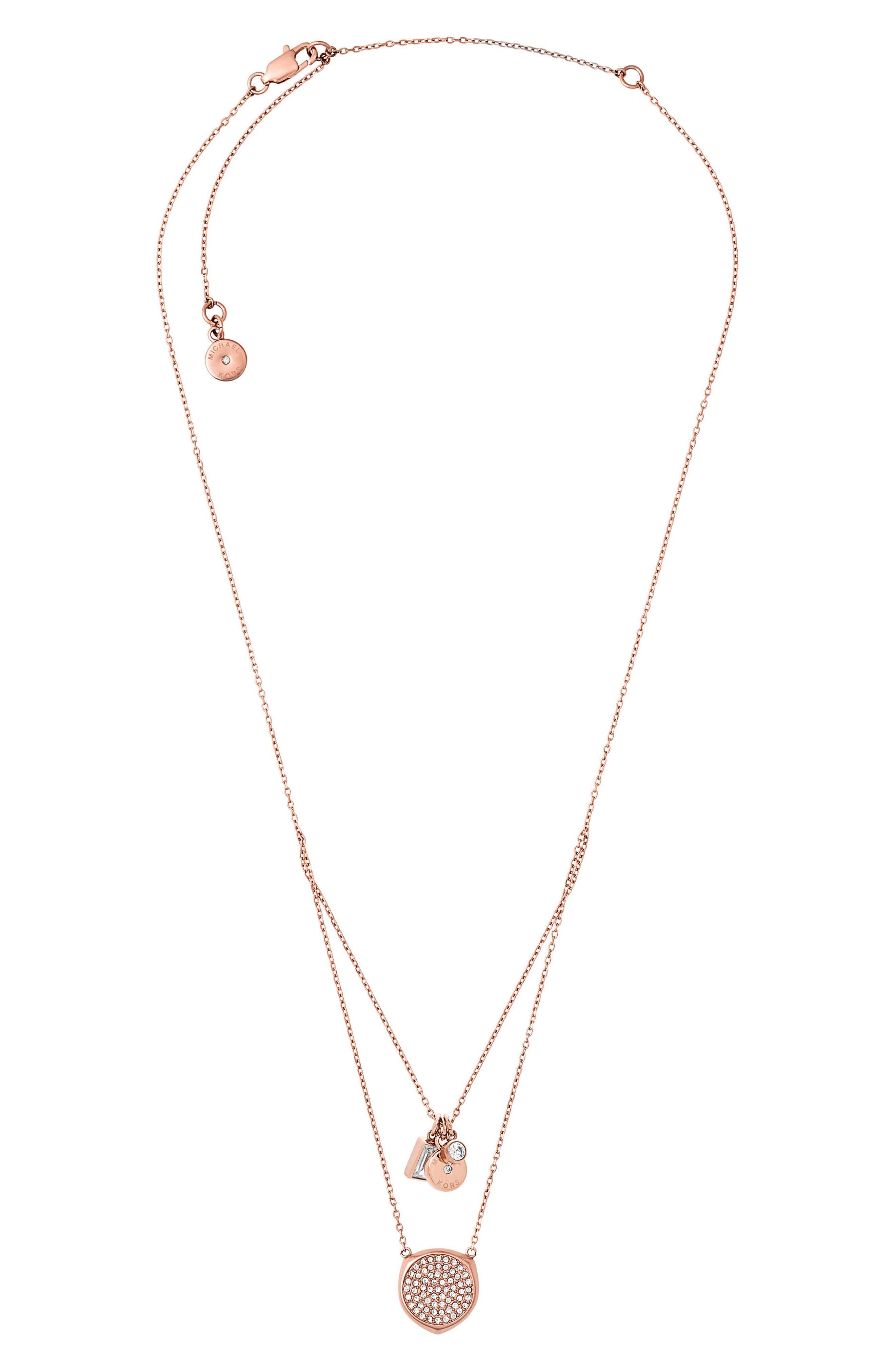 Charm Pendant Necklace,                         Main,                         color, Rose Gold
