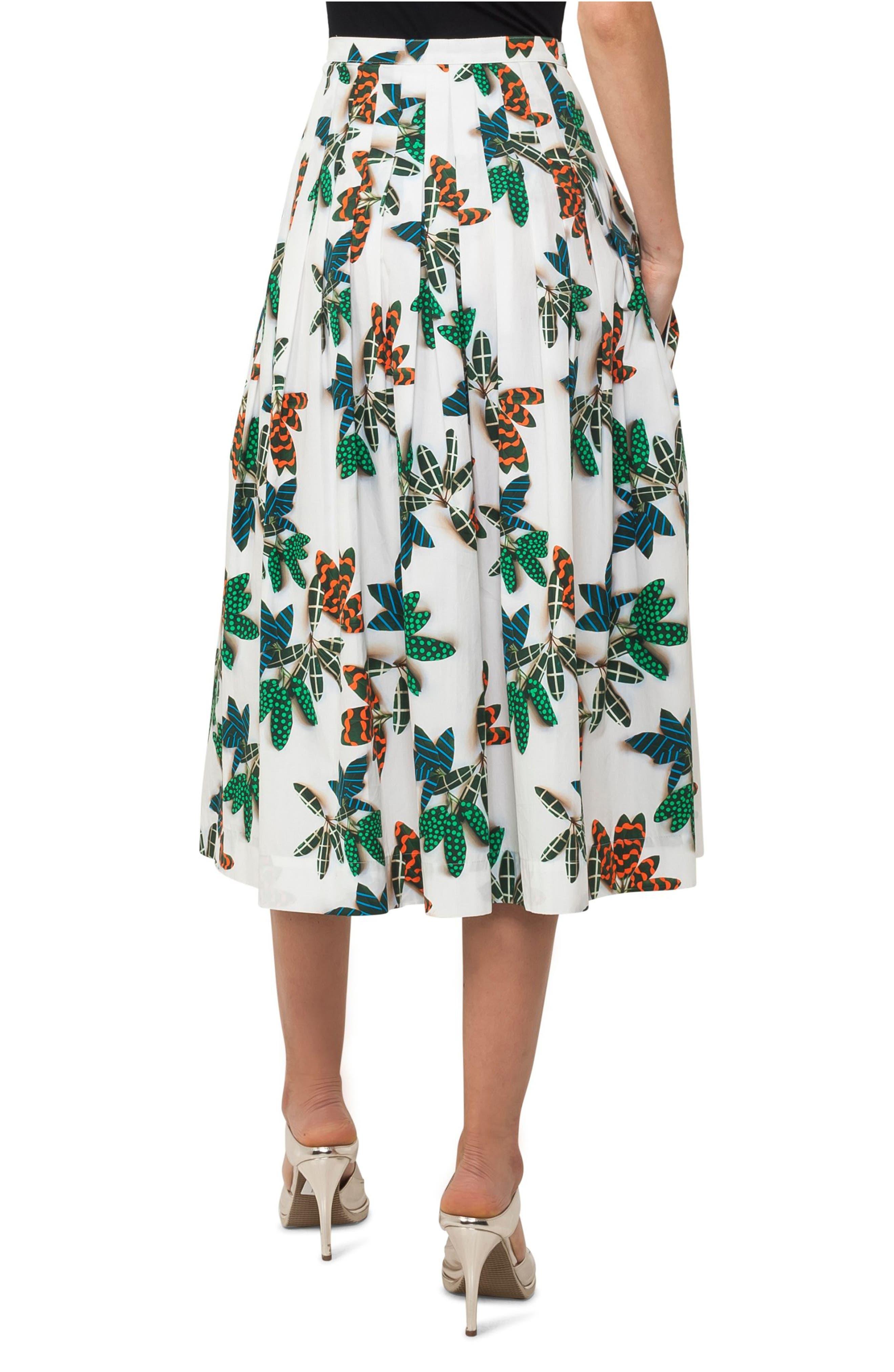 Alternate Image 3  - Akris punto Tropical Print Cotton Midi Skirt