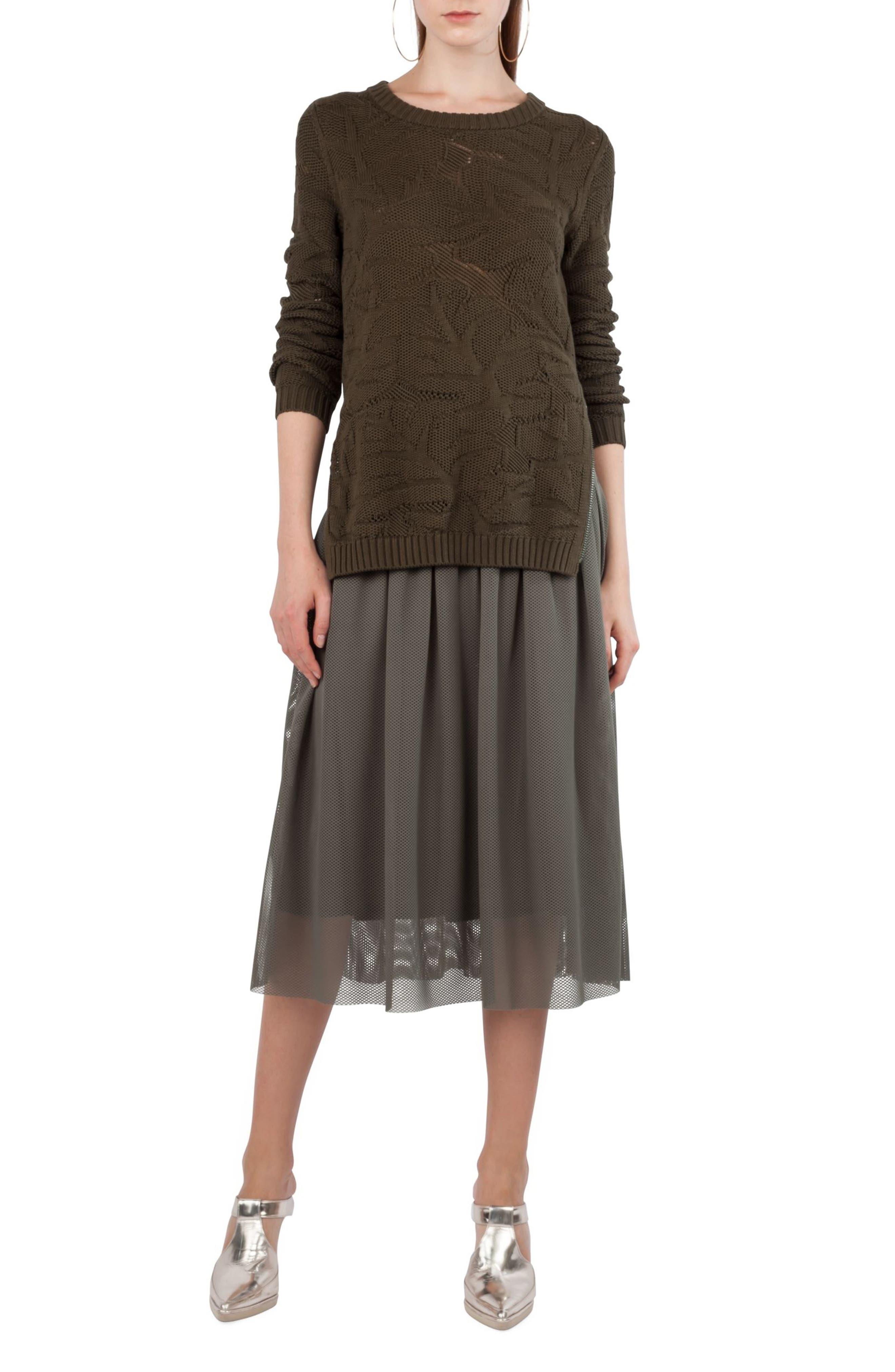 3D Lace Midi Skirt,                             Alternate thumbnail 4, color,                             Avocado