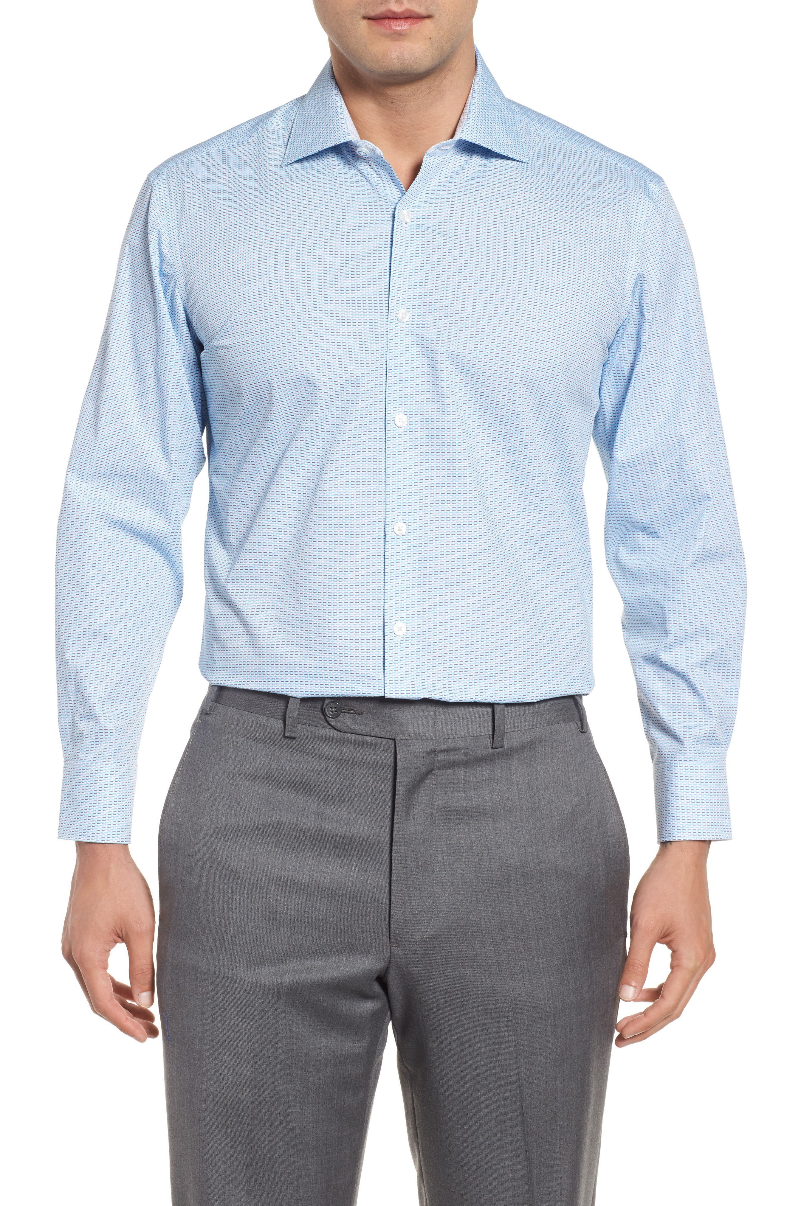 Trim Fit Geometric Dress Shirt,                             Main thumbnail 1, color,                             Aqua