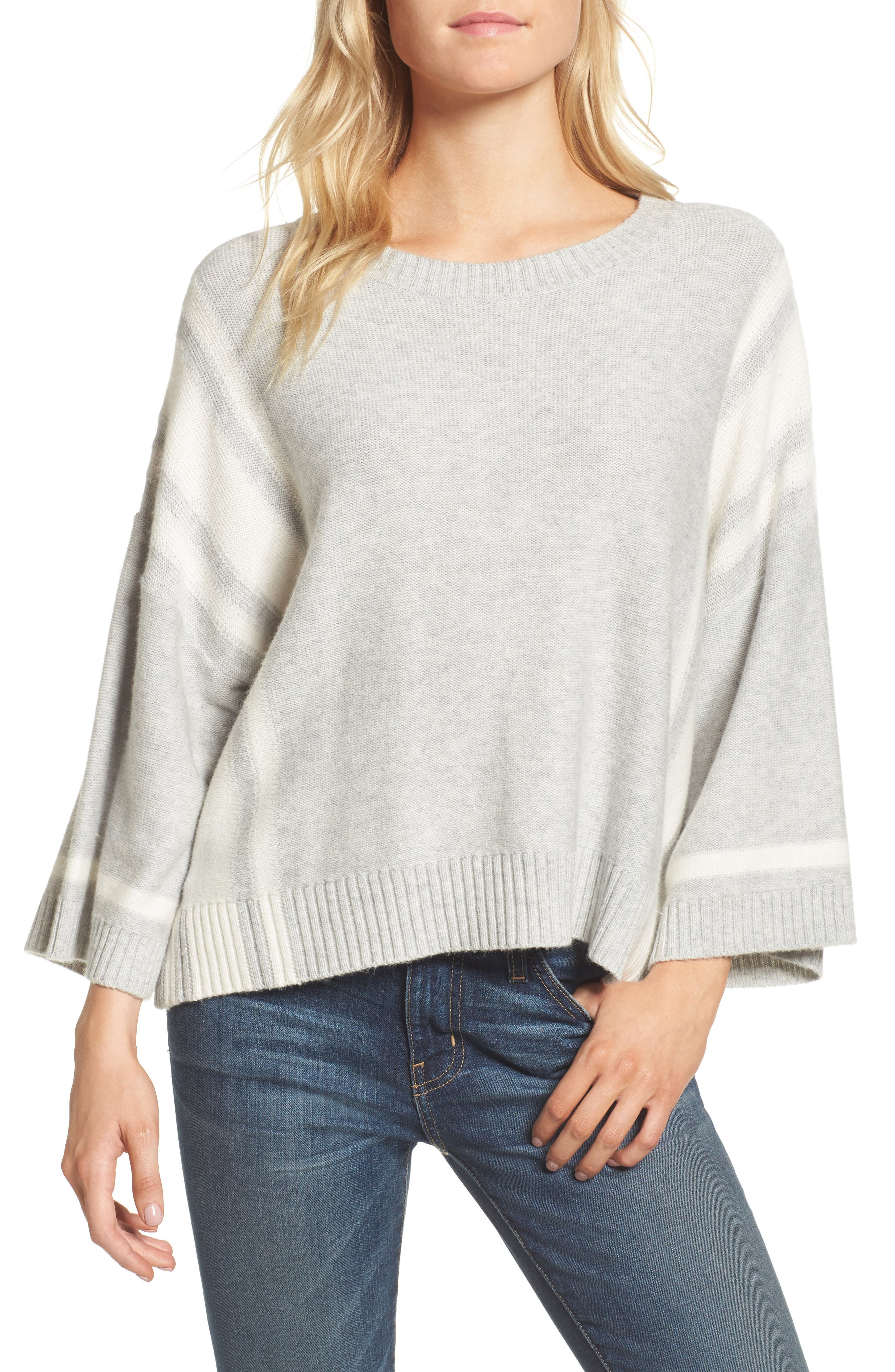Bell Sleeve Sweater,                         Main,                         color, Grey