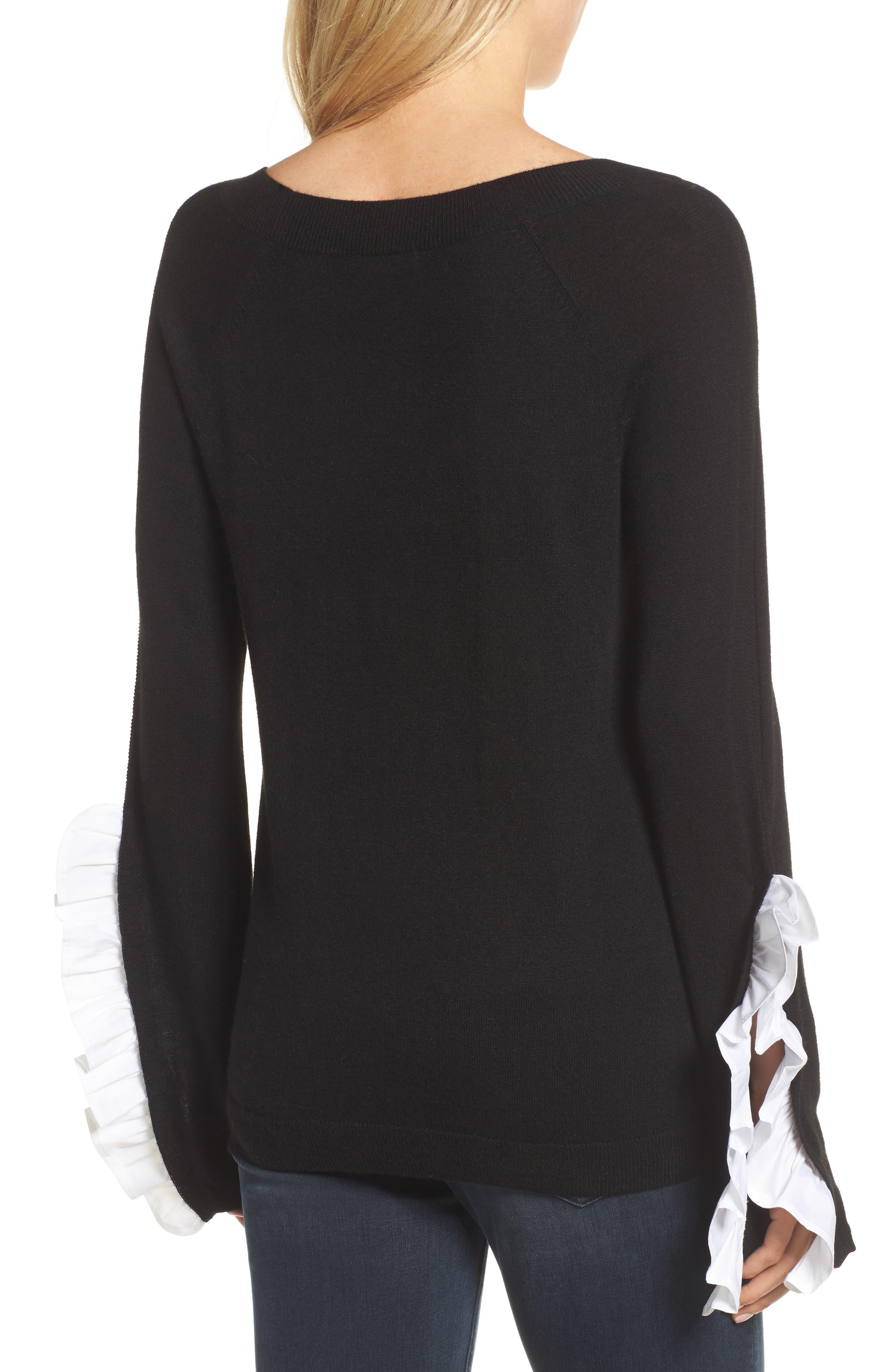 Ruffle Sleeve Sweater,                             Alternate thumbnail 3, color,                             Black