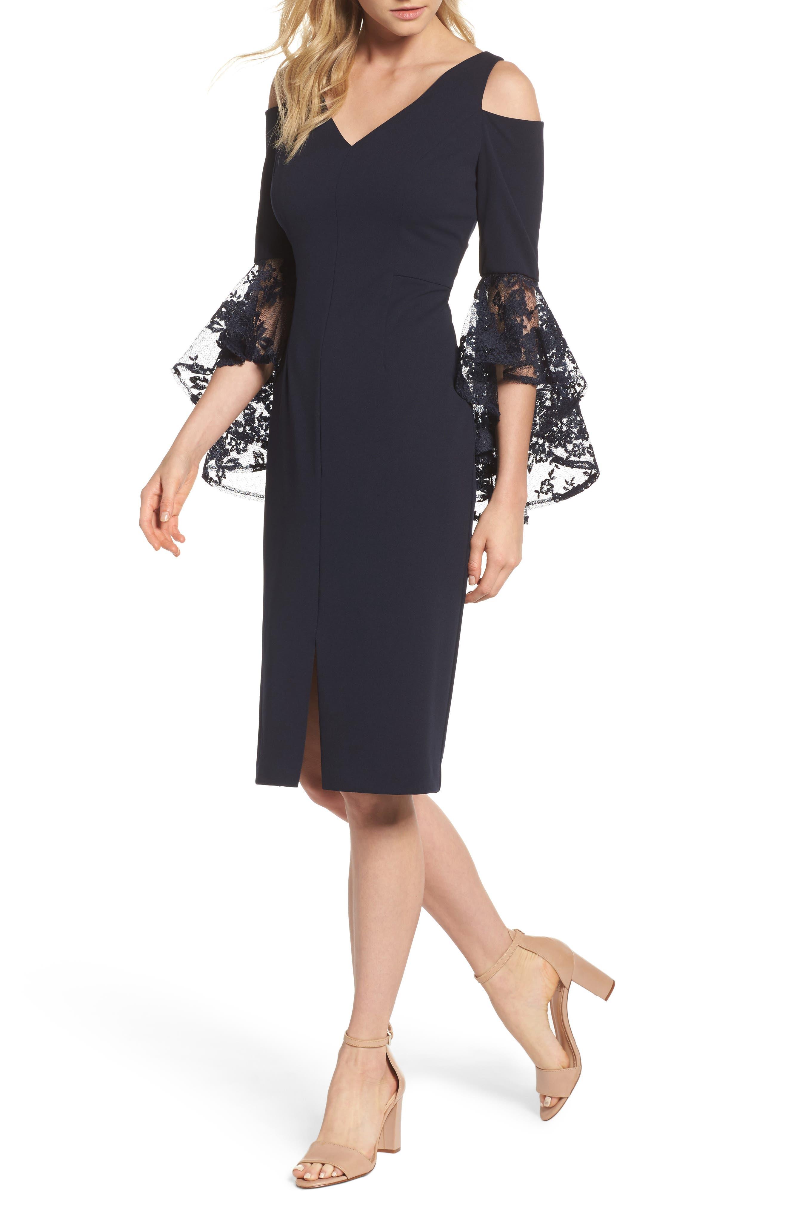 Cold Shoulder Sheath Dress,                             Main thumbnail 1, color,                             Dark Navy