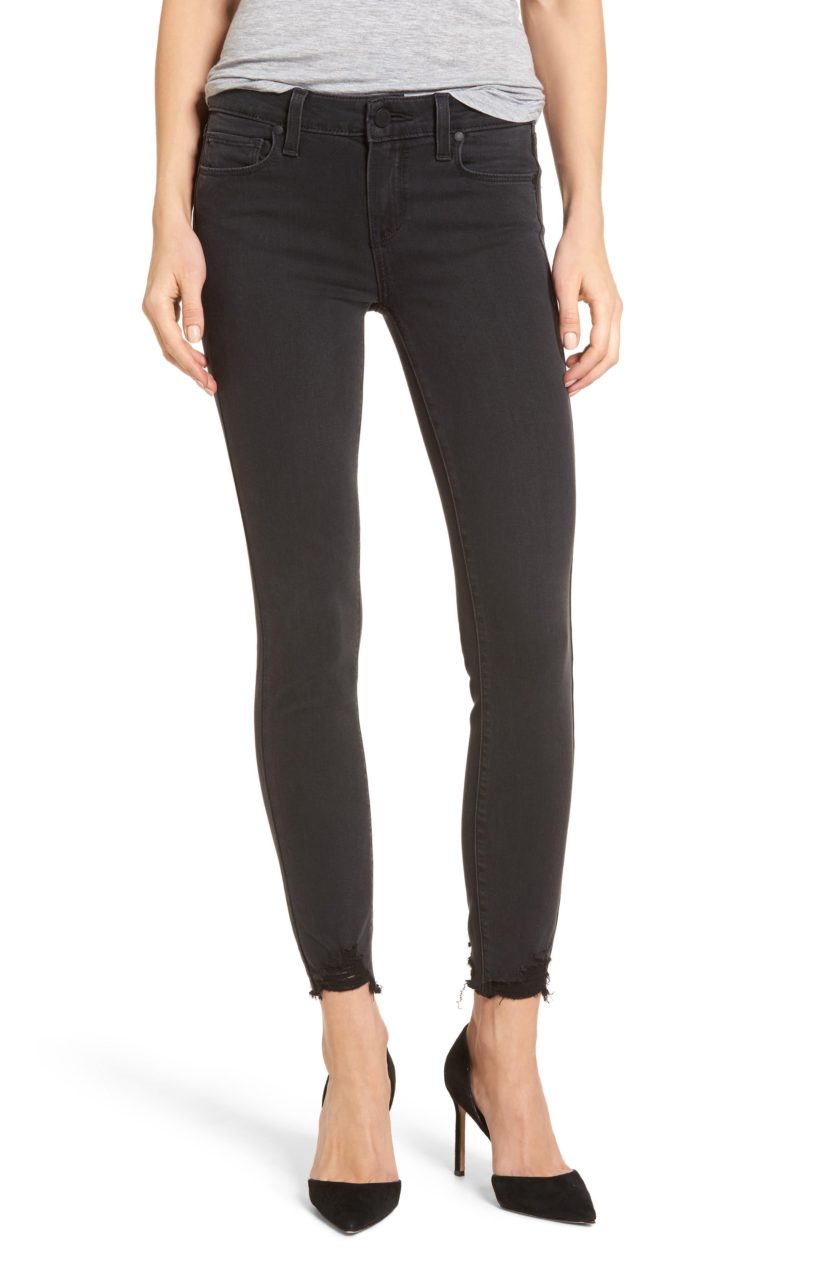 PAIGE Transcend - Verdugo Ankle Skinny Jeans (Black Fog Super Distressed)
