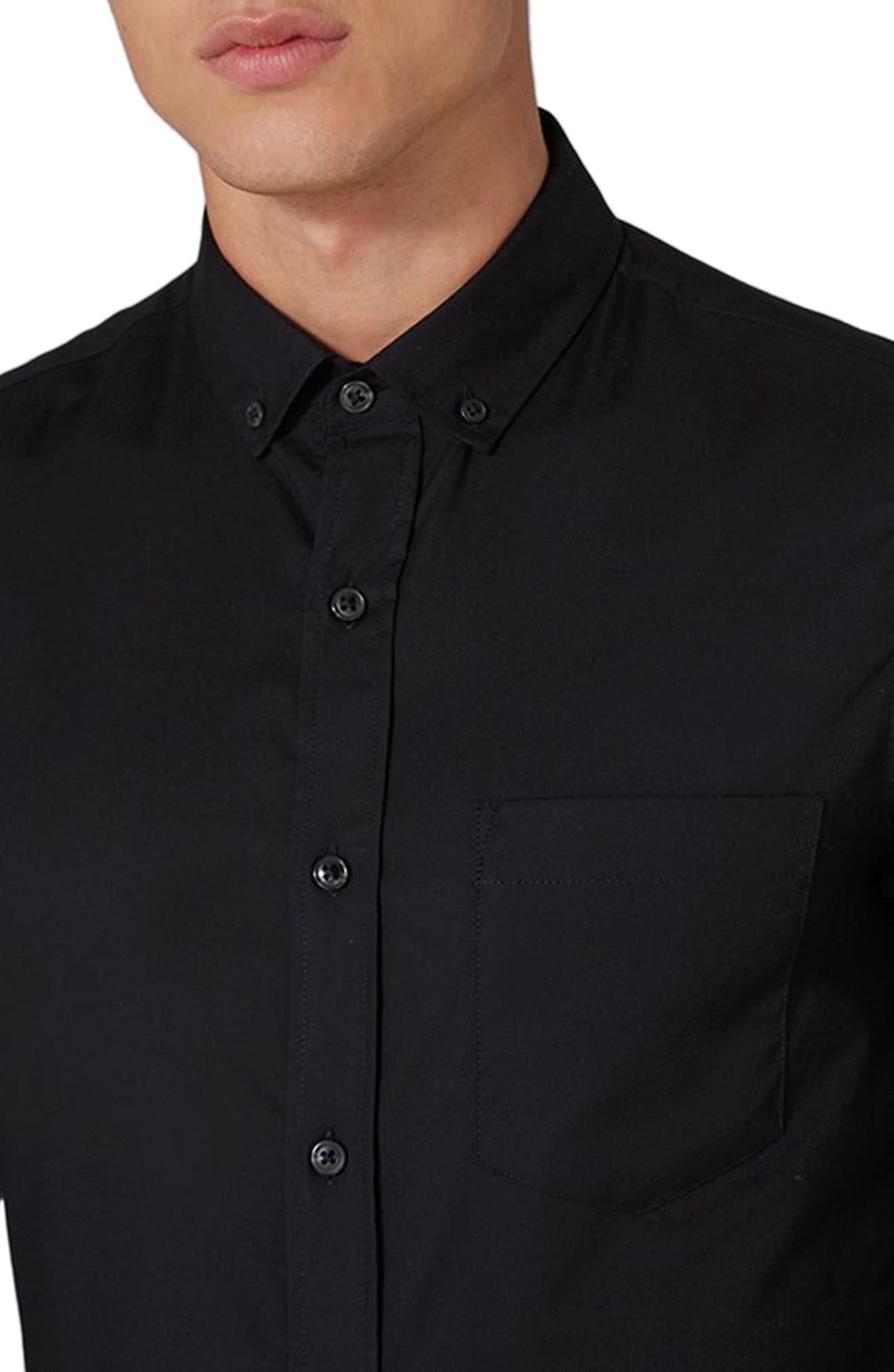 Muscle Fit Oxford Shirt,                             Alternate thumbnail 3, color,                             Black