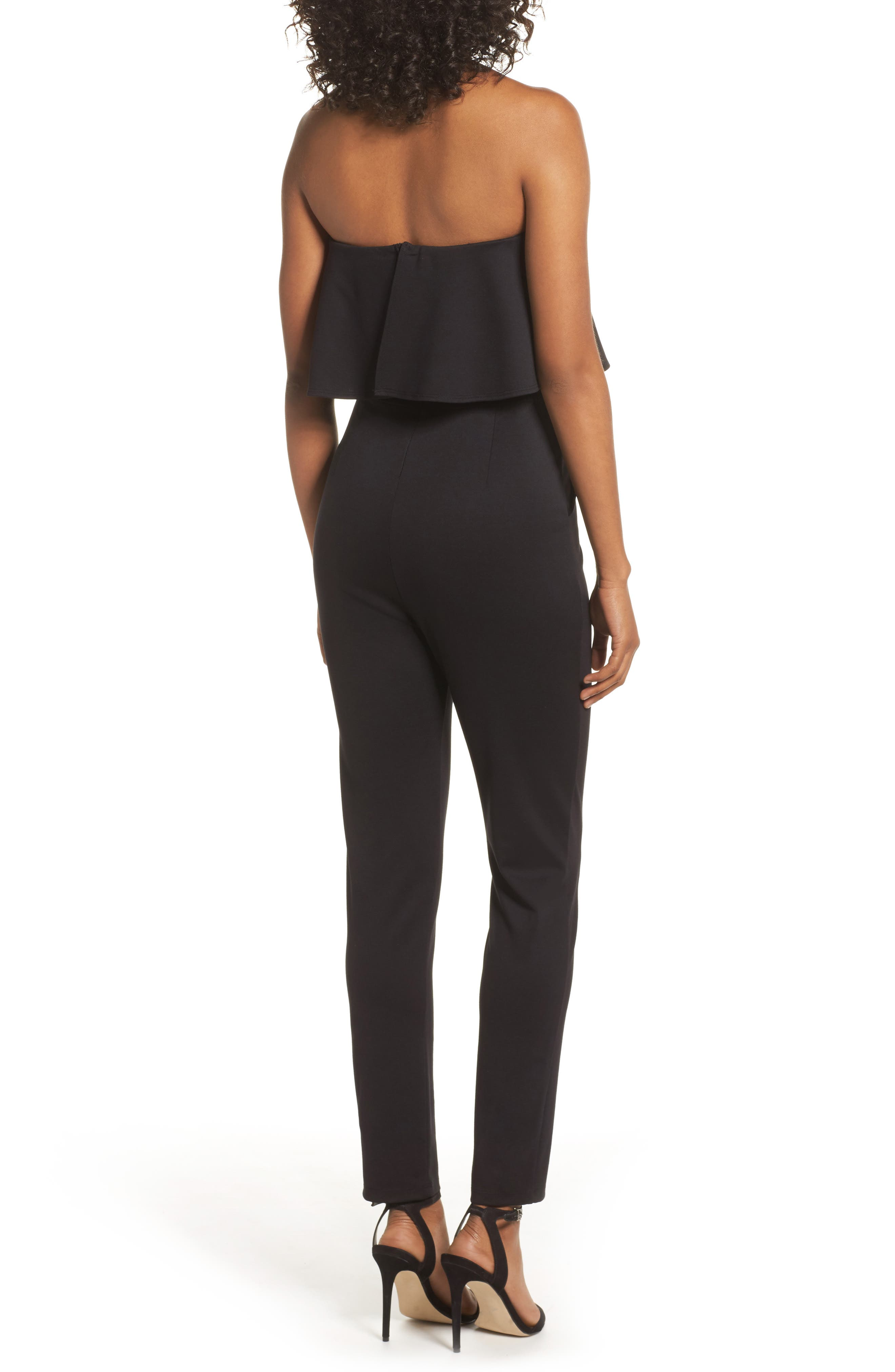 Strapless Ruffle Jumpsuit,                             Alternate thumbnail 2, color,                             Black