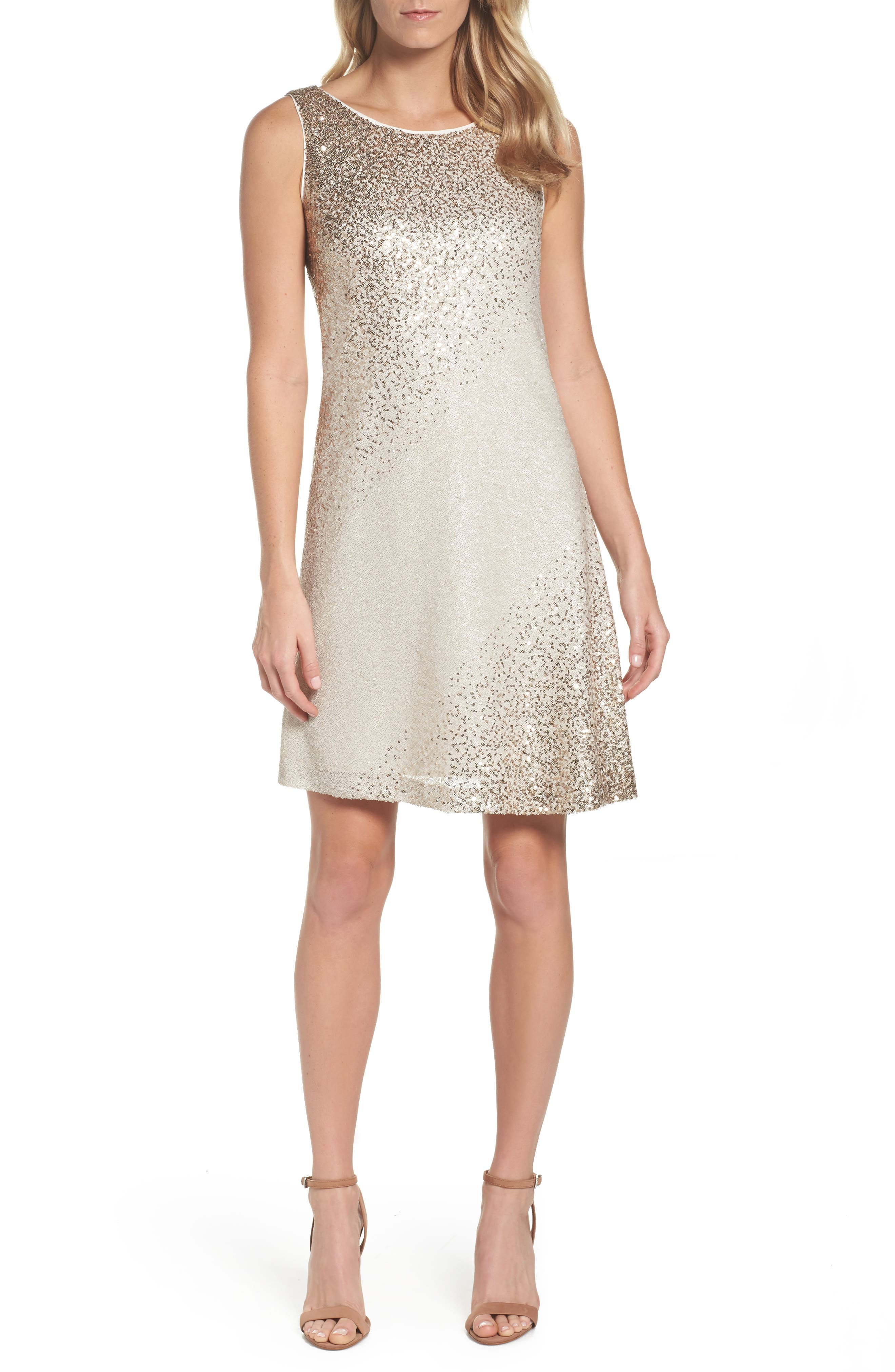 Sequin Shift Dress,                             Main thumbnail 1, color,                             Ivory/ Gold