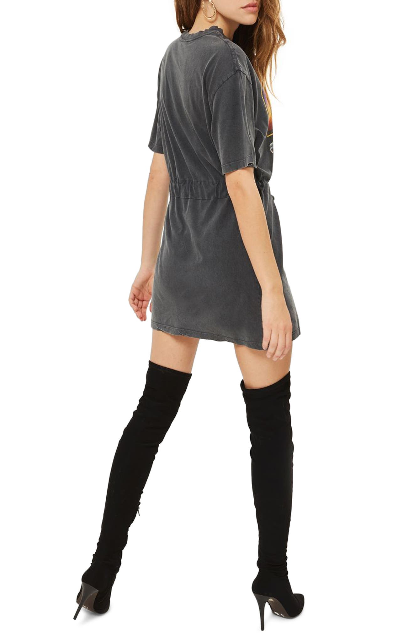 Kiss Graphic Belted Tunic Dress,                             Alternate thumbnail 3, color,                             Charcoal Multi