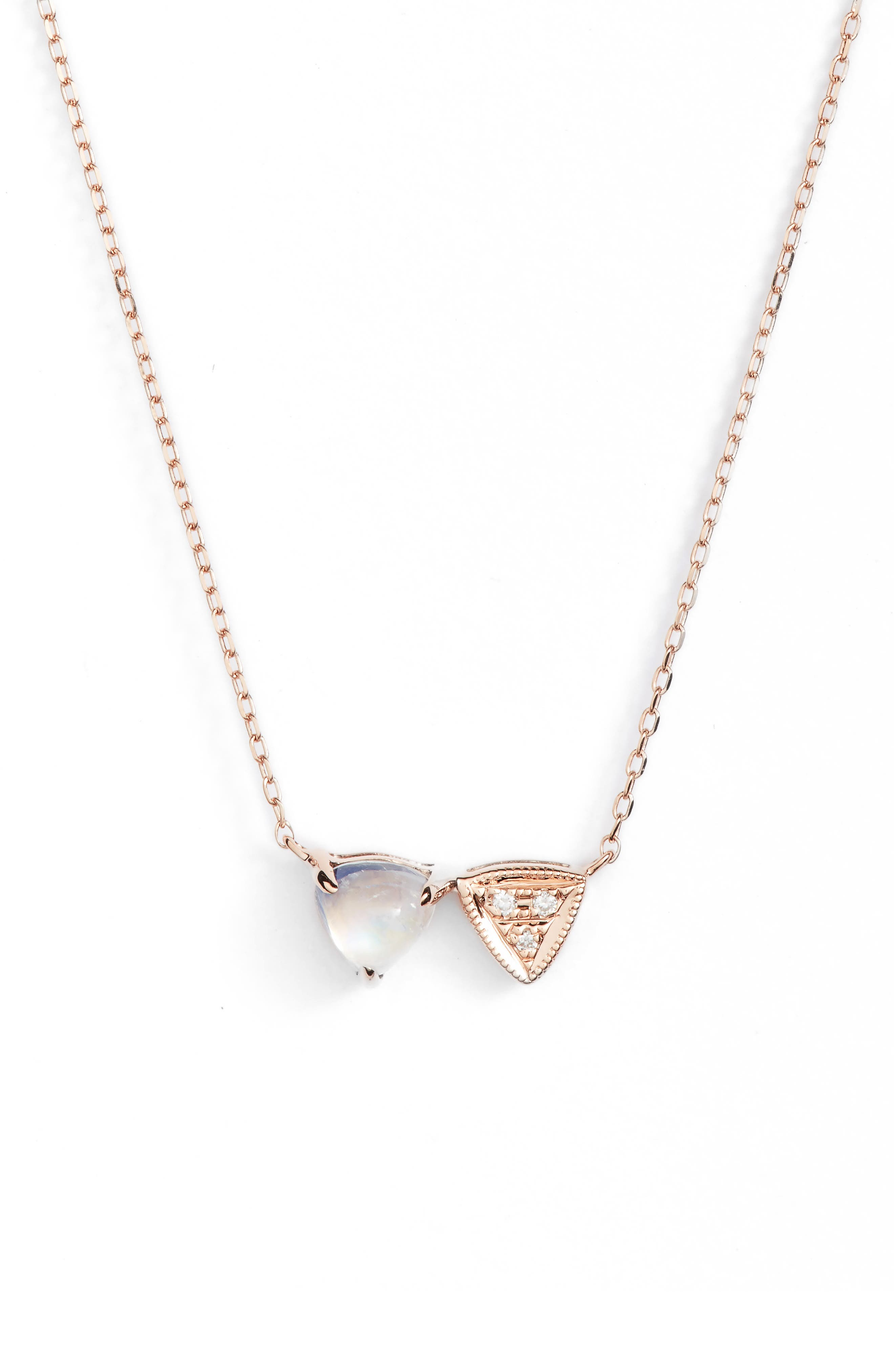 Diamond & Stone Pendant Necklace,                         Main,                         color, Rose Gold