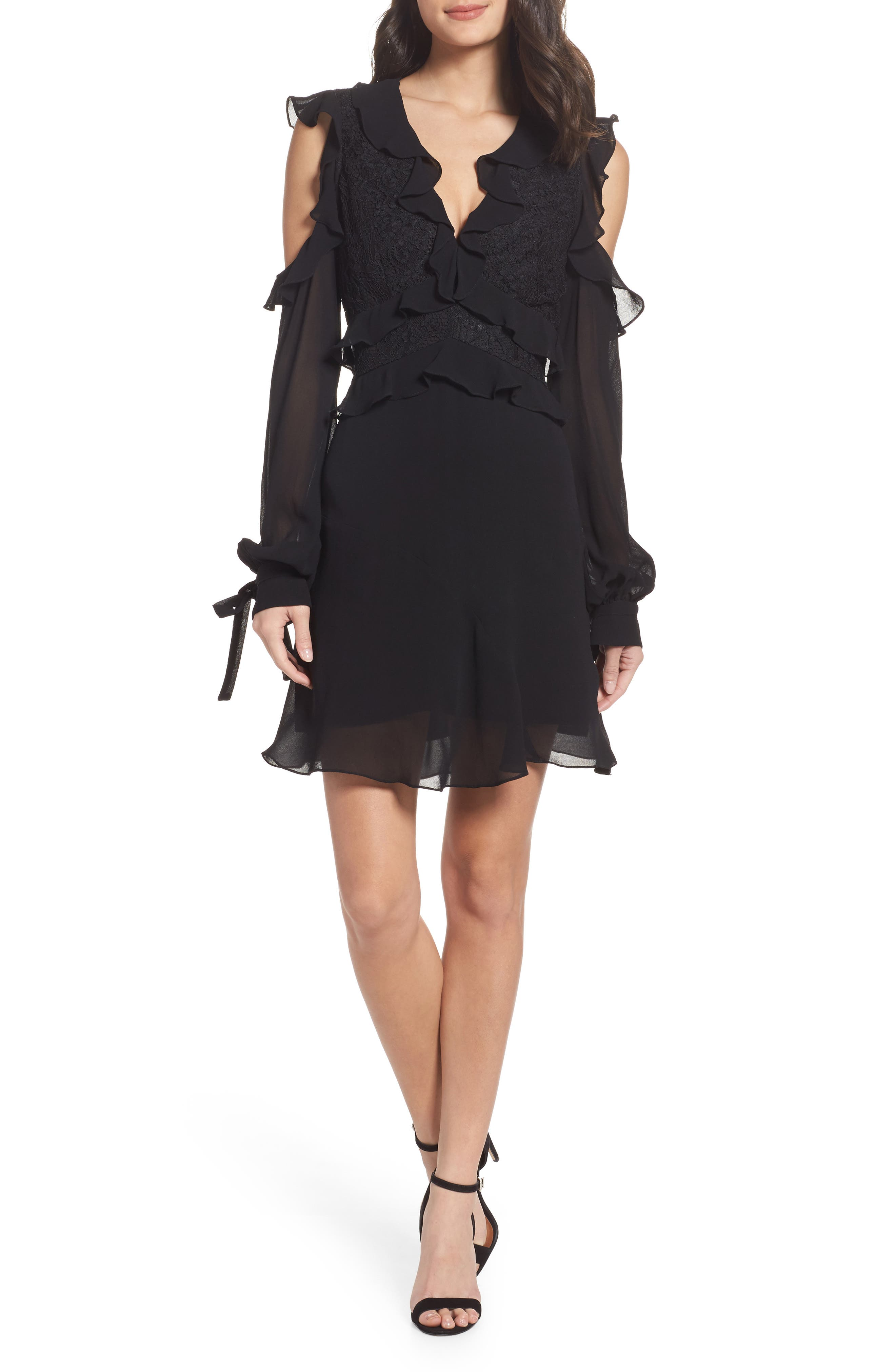 Florentine Cold Shoulder Dress,                             Main thumbnail 1, color,                             Black