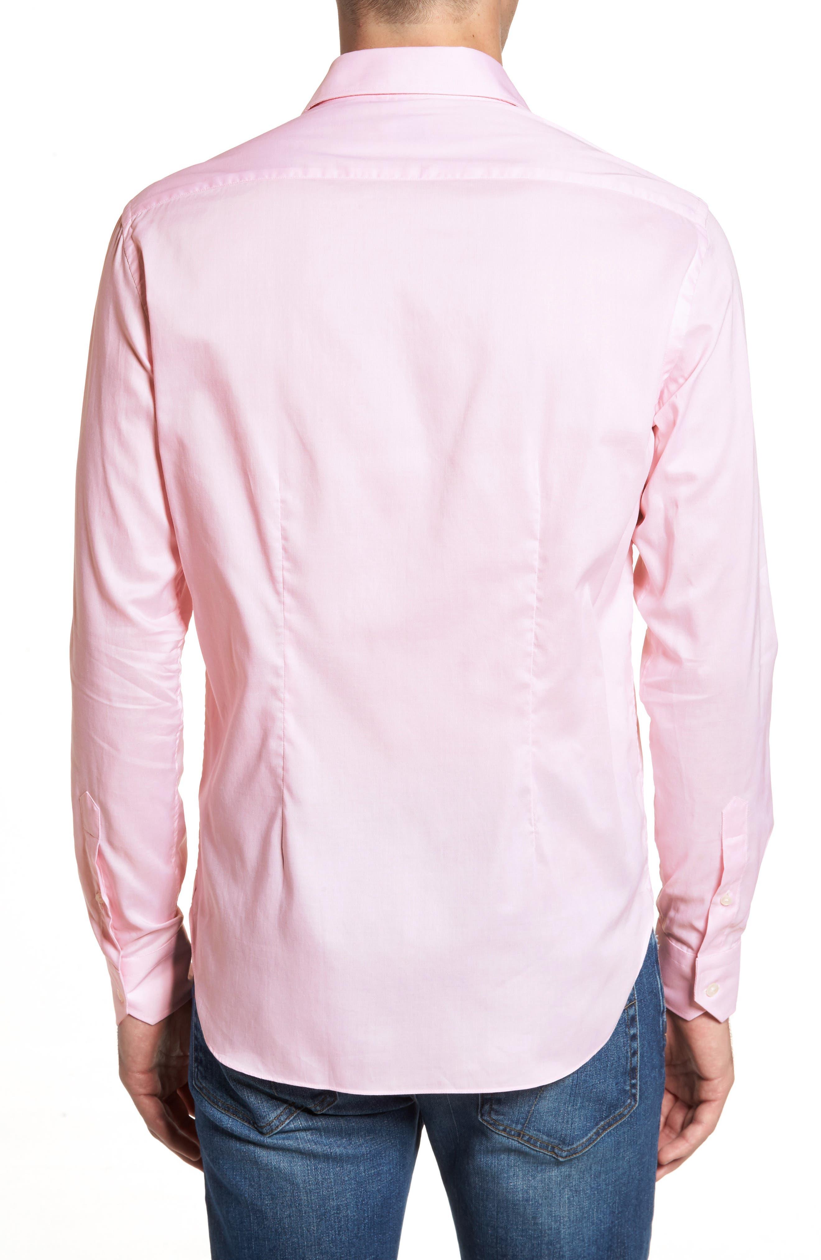 Slim Fit Micro Stripe Sport Shirt,                             Alternate thumbnail 2, color,                             Pink