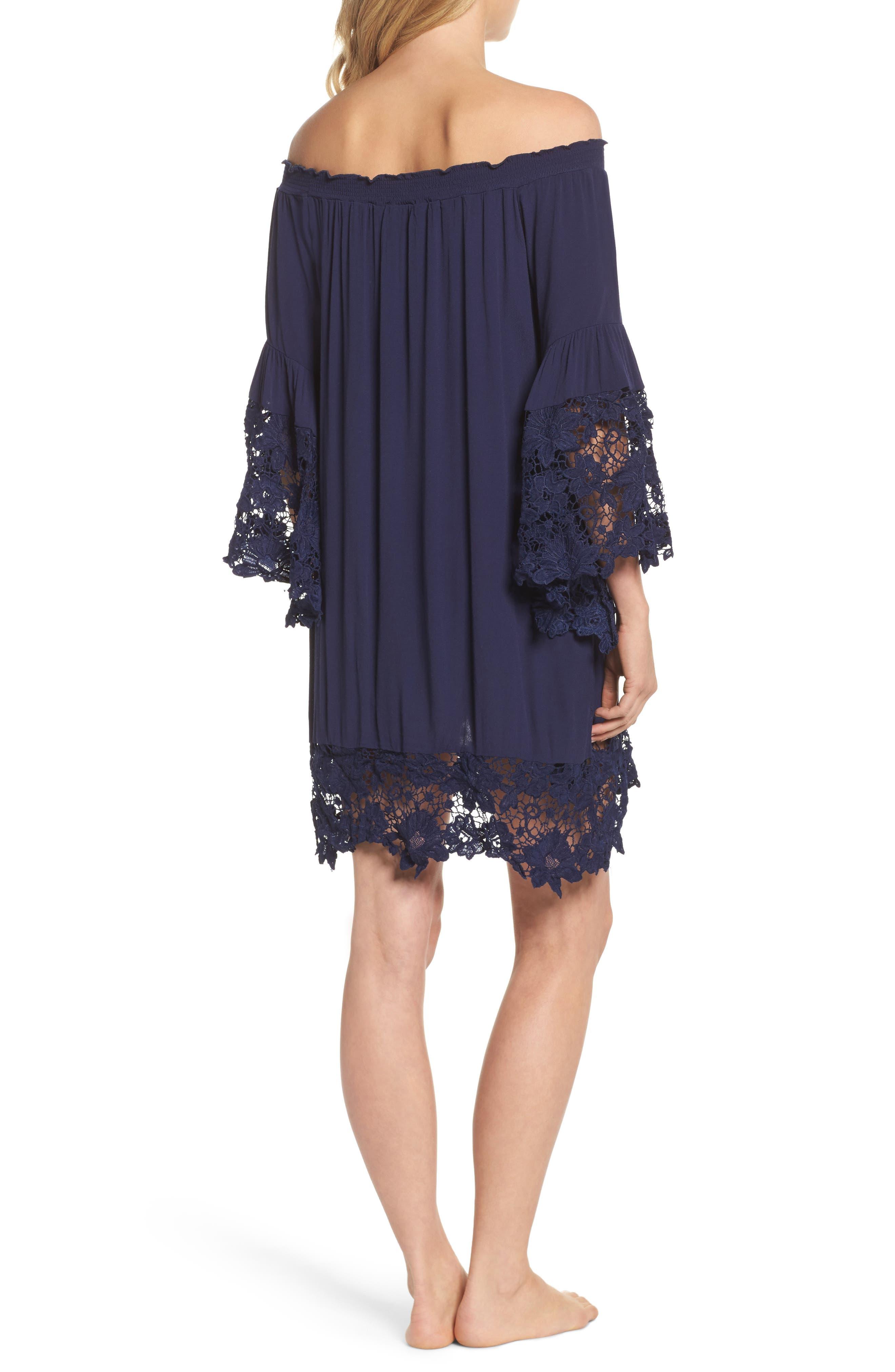 Jolie Lace Accent Cover-Up Dress,                             Alternate thumbnail 2, color,                             Navy