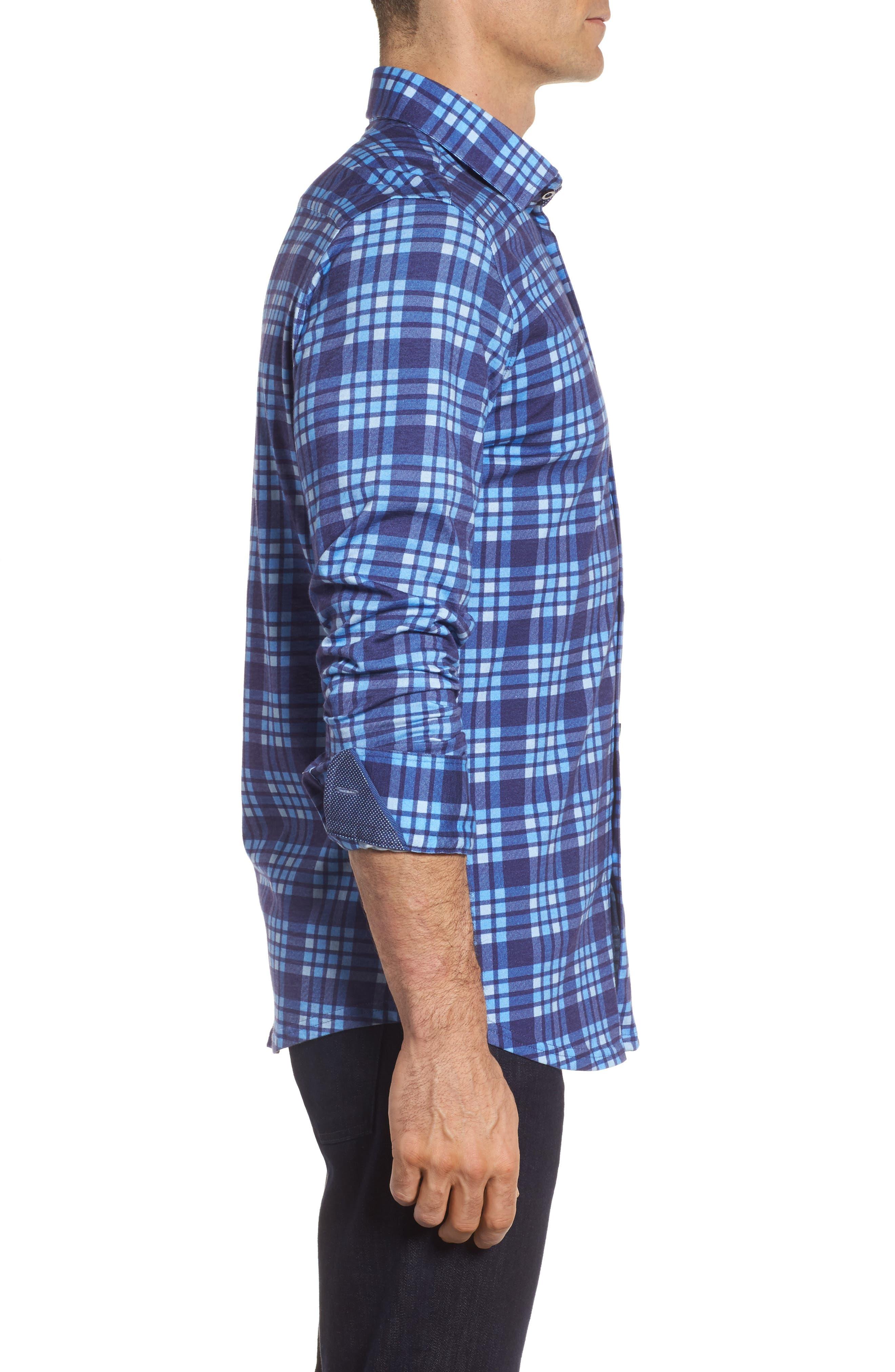 Plaid Print Jersey Shirt,                             Alternate thumbnail 3, color,                             Navy