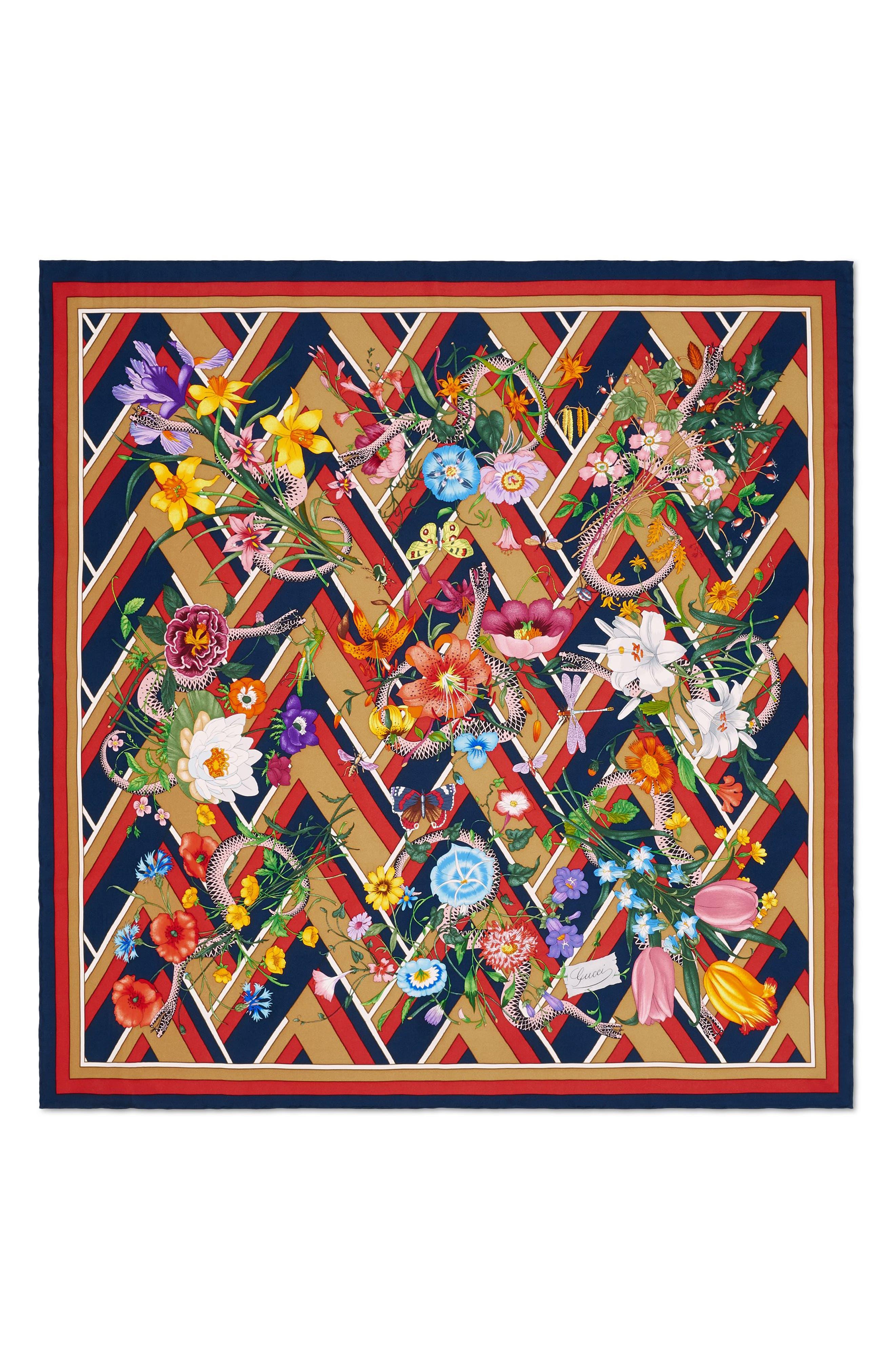 Main Image - Gucci Flora Chevron Snake Foulard Silk Square Scarf