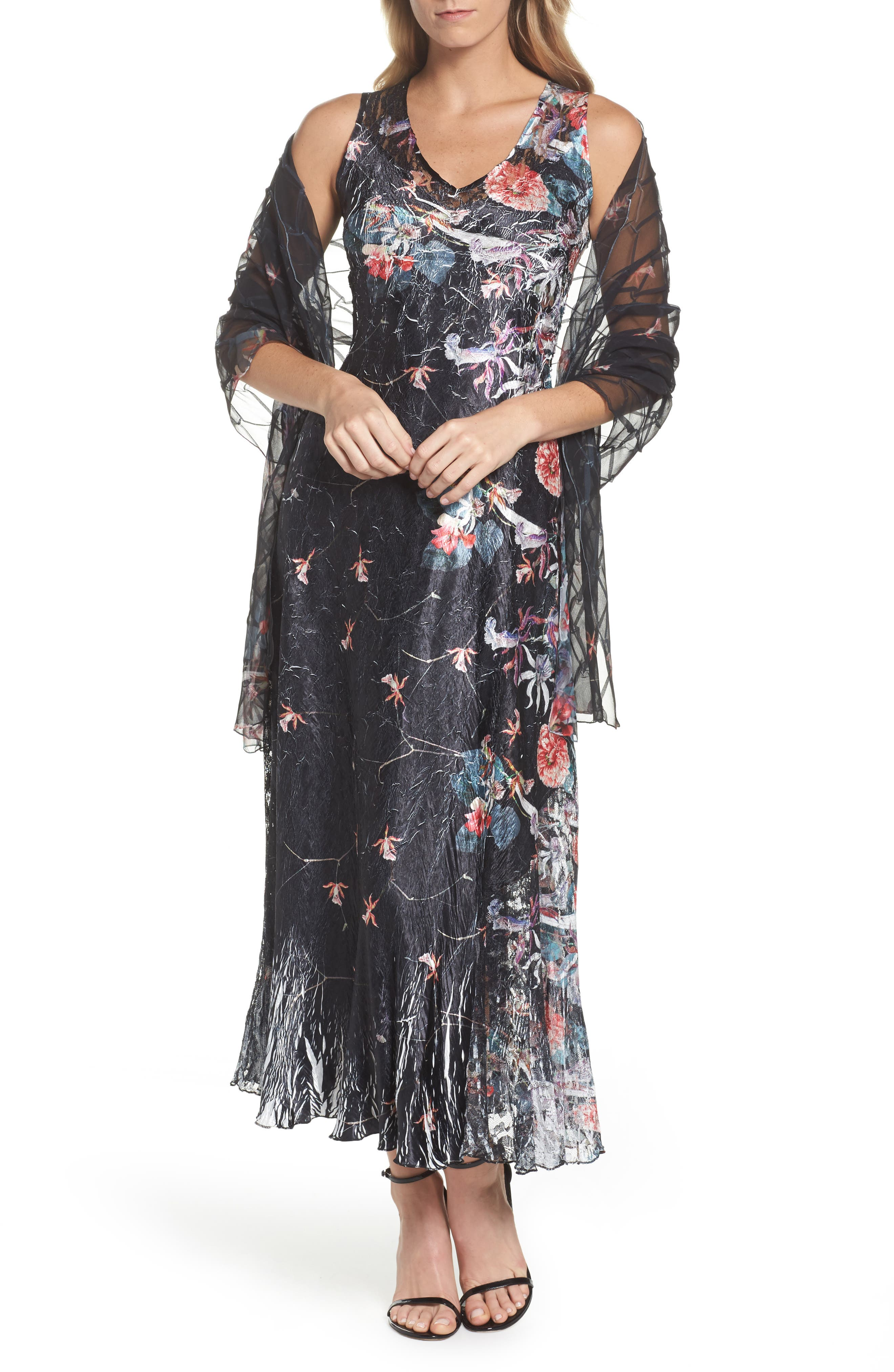 Lace-Up Back Print Maxi Dress with Wrap,                         Main,                         color, Black Oasis