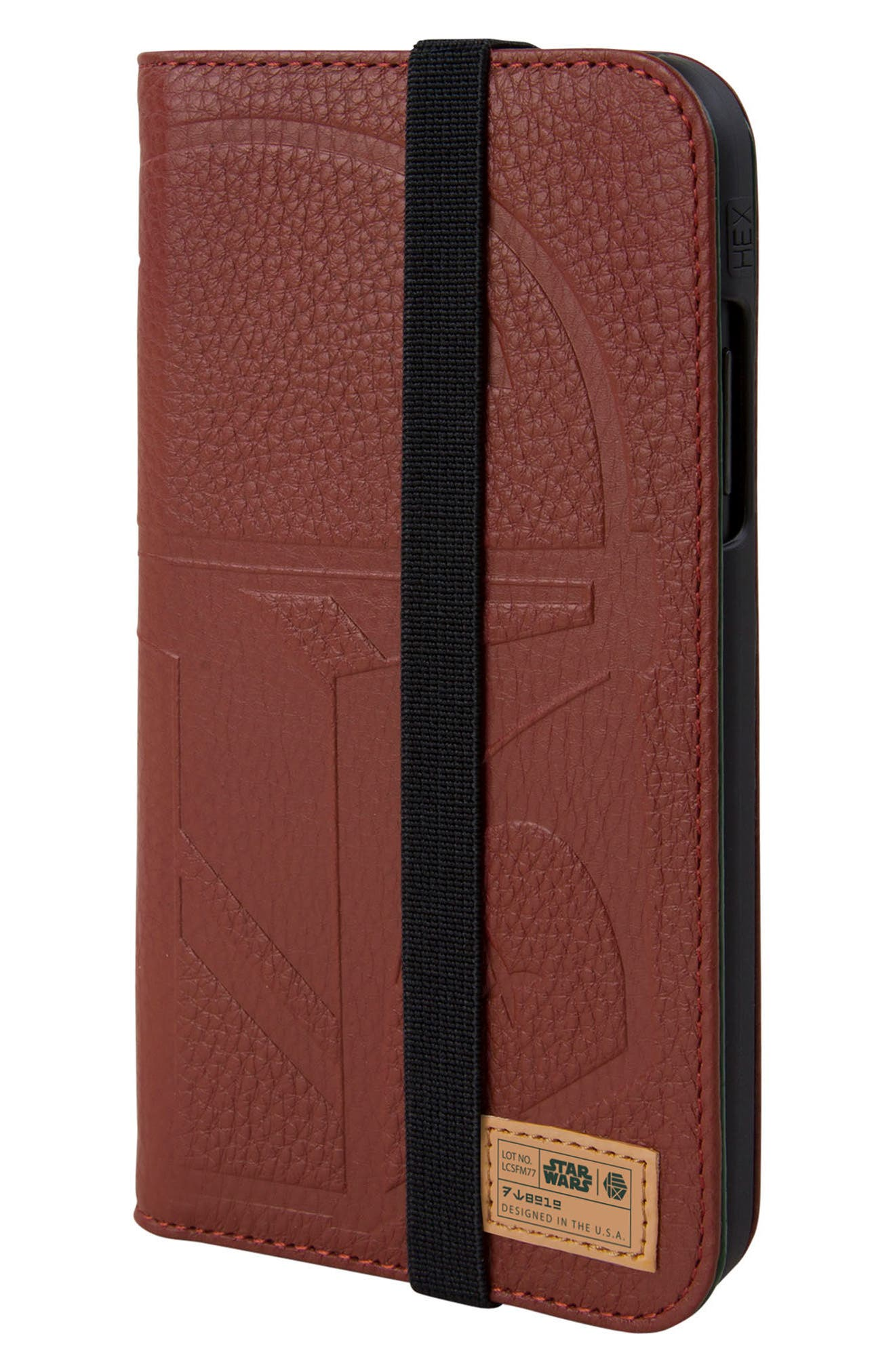 Boba Fett iPhone X Wallet Case,                             Main thumbnail 1, color,                             Burgundy