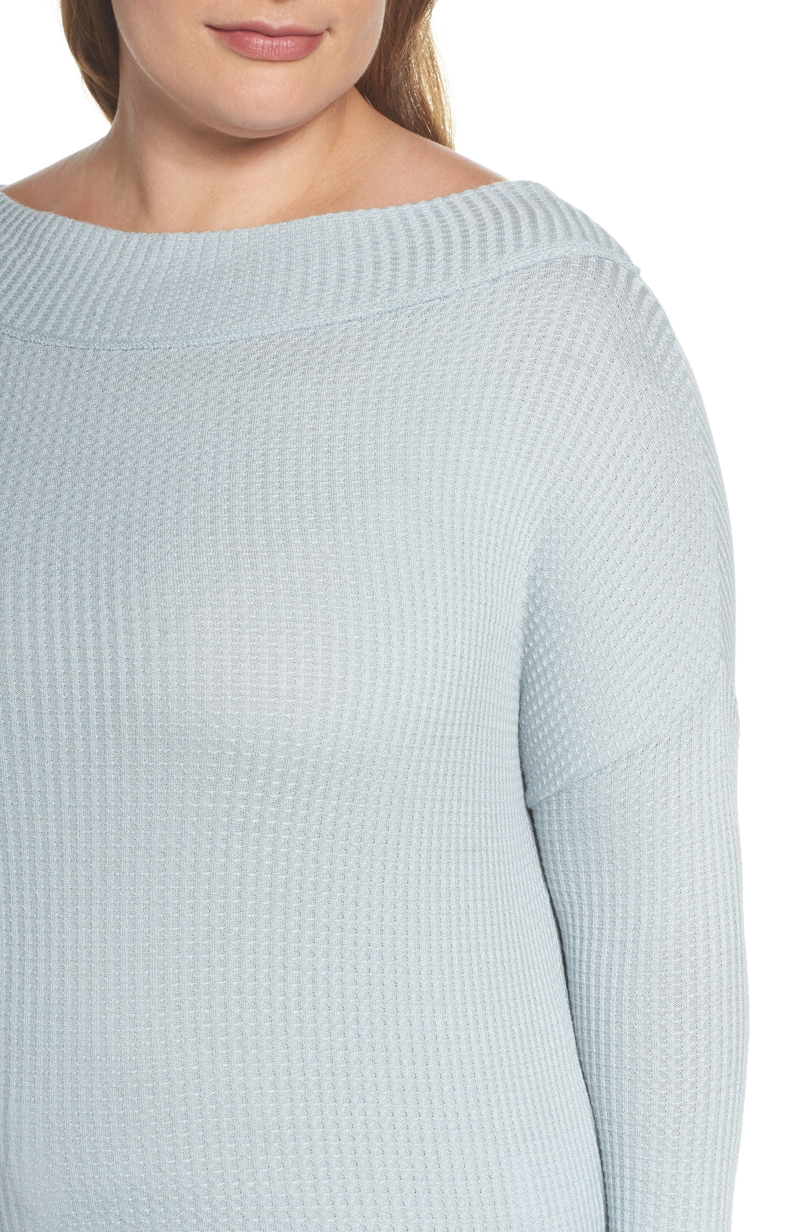 Alternate Image 4  - Lucky Brand Waffle Thermal Top (Plus Size)