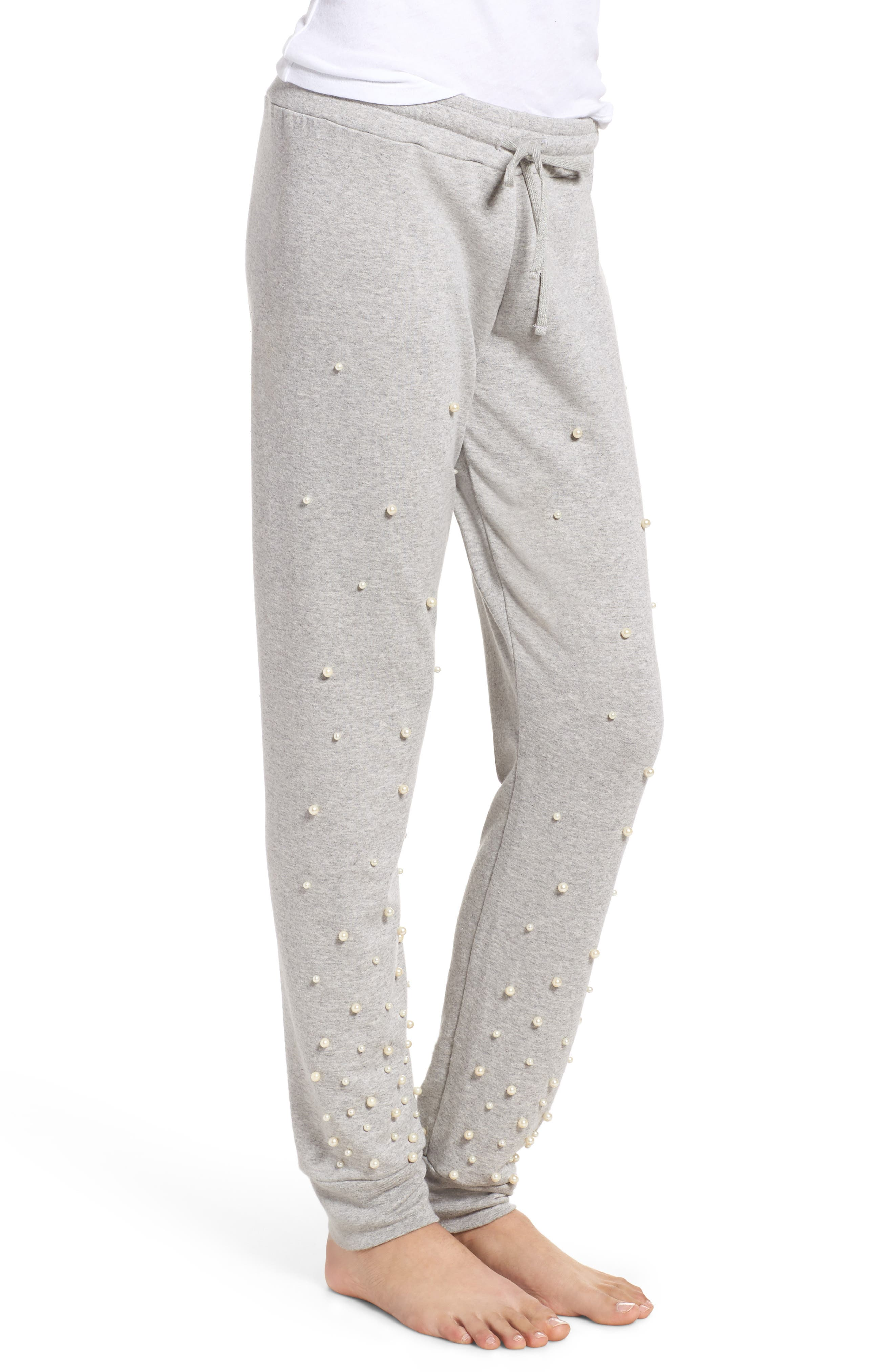Price Imitation Pearl Embellished Lounge Pants,                             Alternate thumbnail 3, color,                             Heather Grey