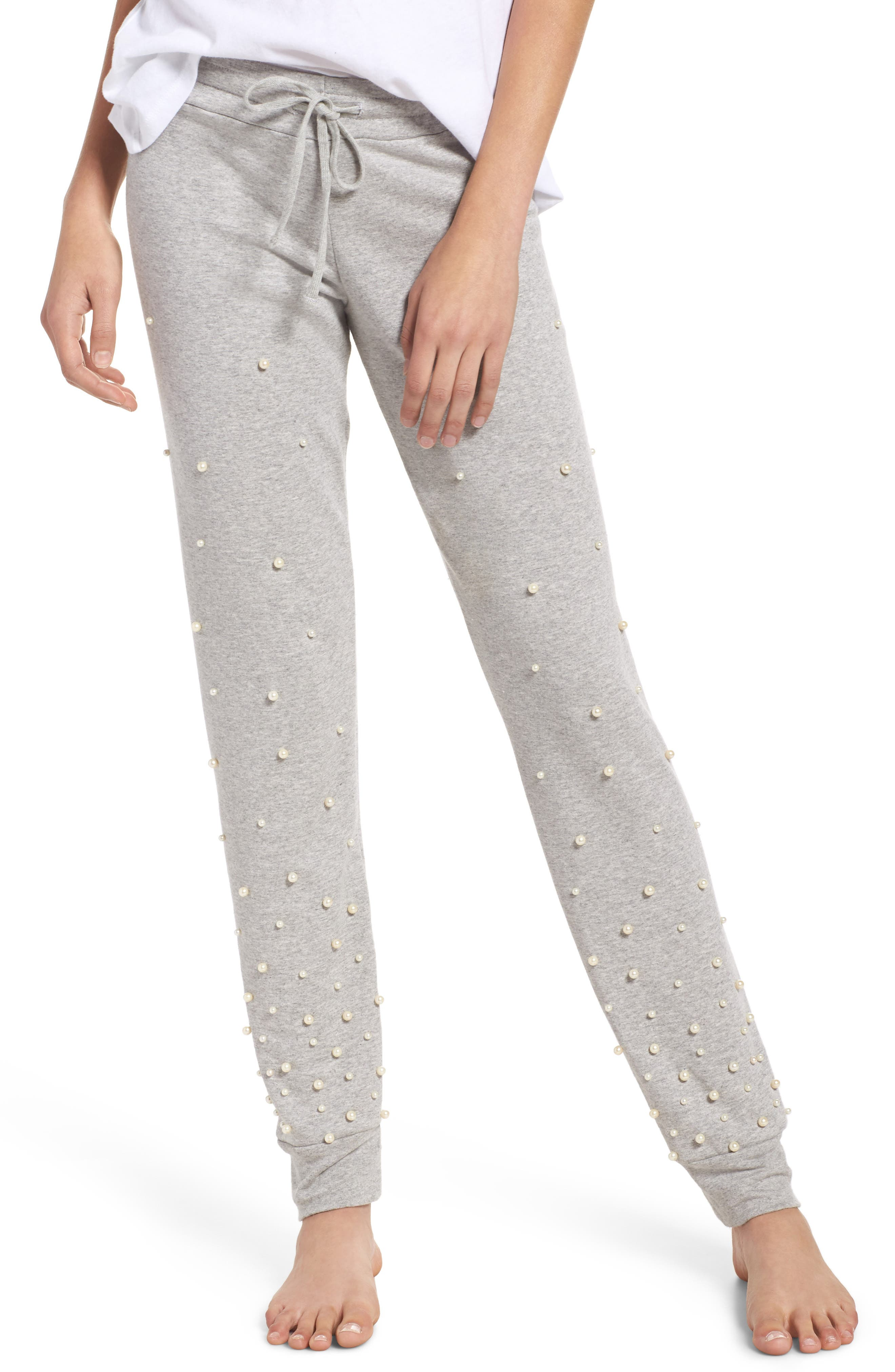 Price Imitation Pearl Embellished Lounge Pants,                             Main thumbnail 1, color,                             Heather Grey
