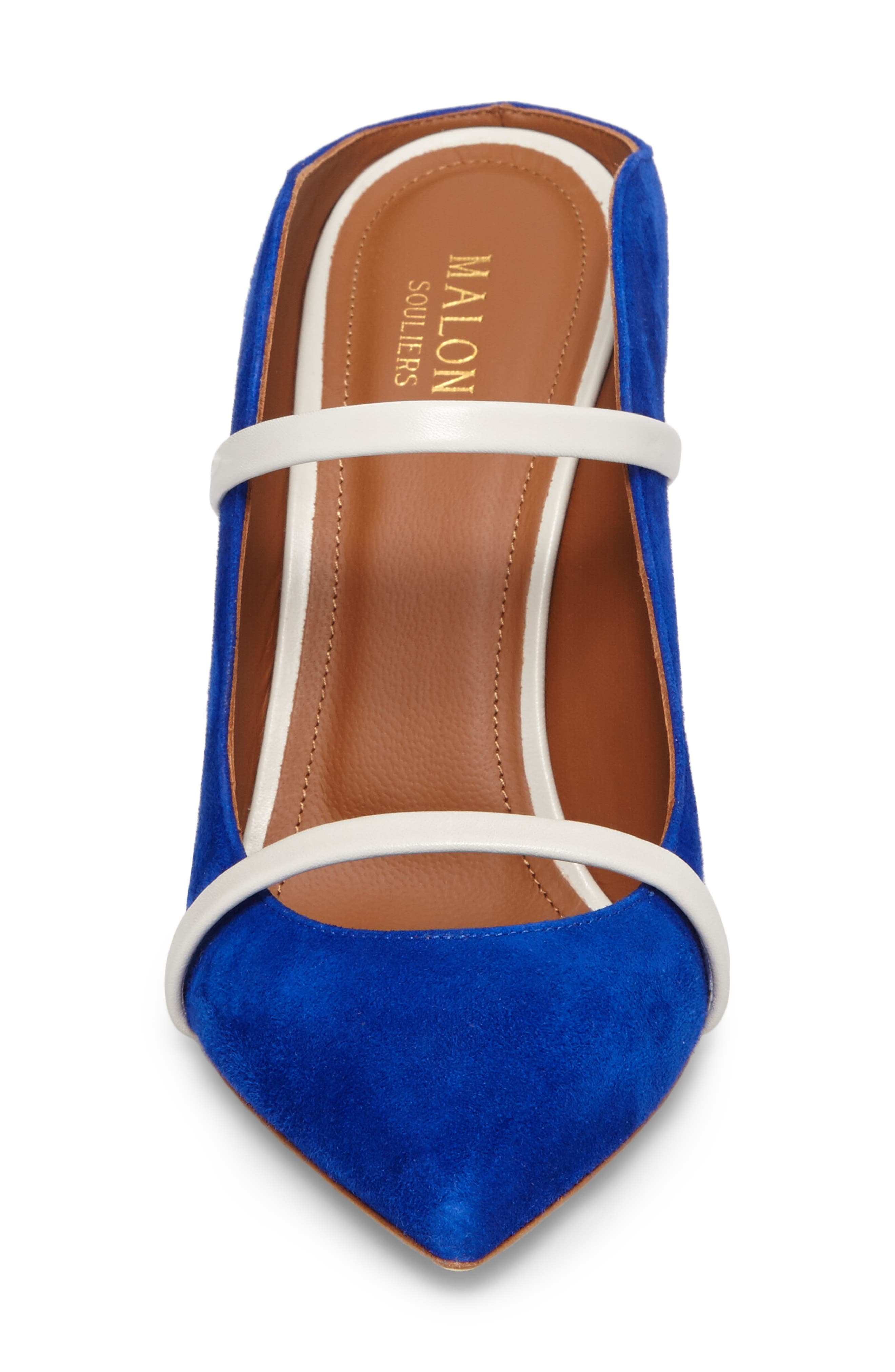 Maureen Double Band Mule,                             Alternate thumbnail 4, color,                             Electric Blue/ Foam/ Grey