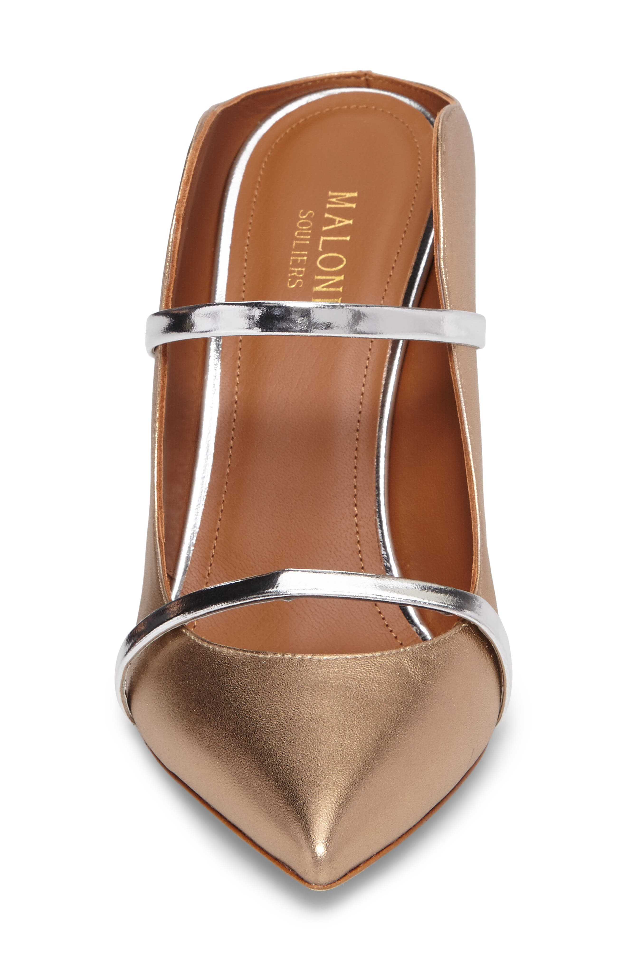Maureen Double Band Mule,                             Alternate thumbnail 4, color,                             Gold/ Silver