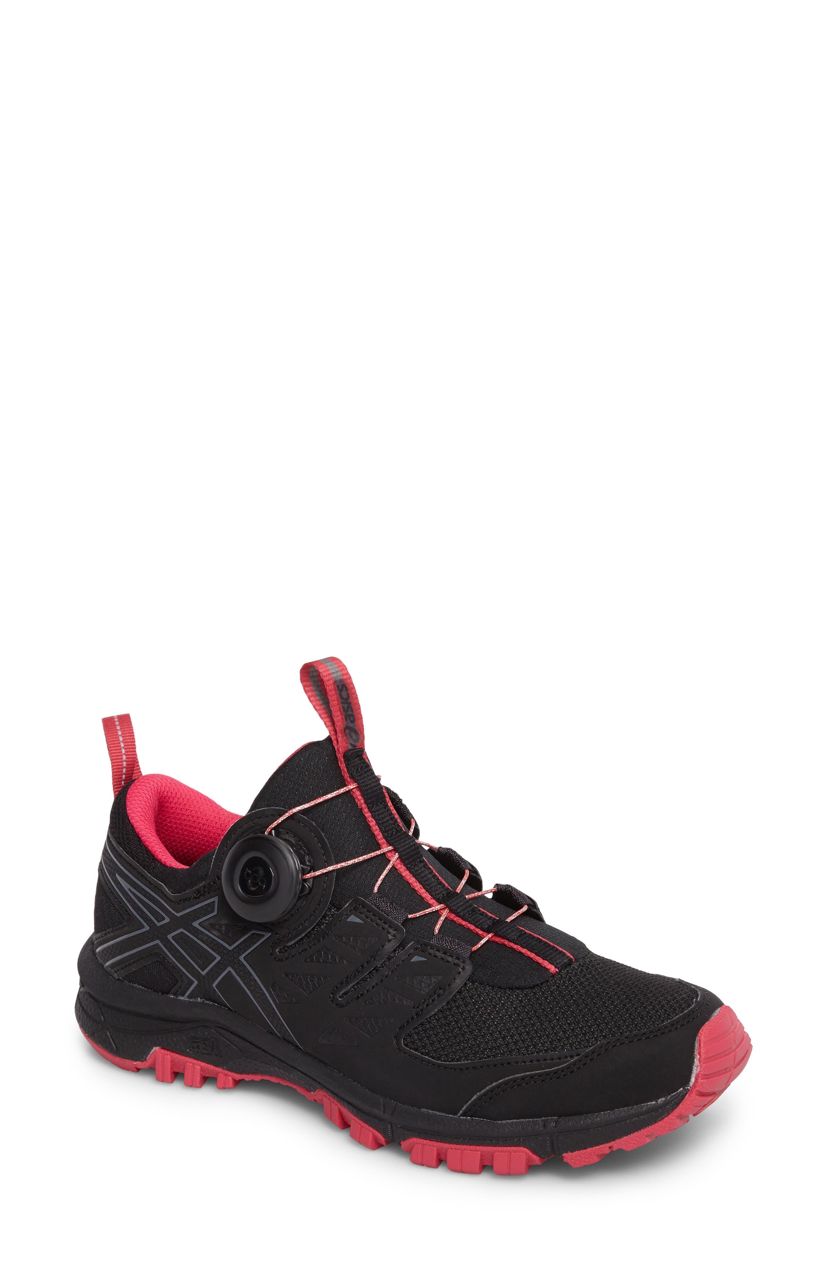 GEL-Fujirado Running Shoe,                         Main,                         color, Black/ Carbon/ Cosmo Pink