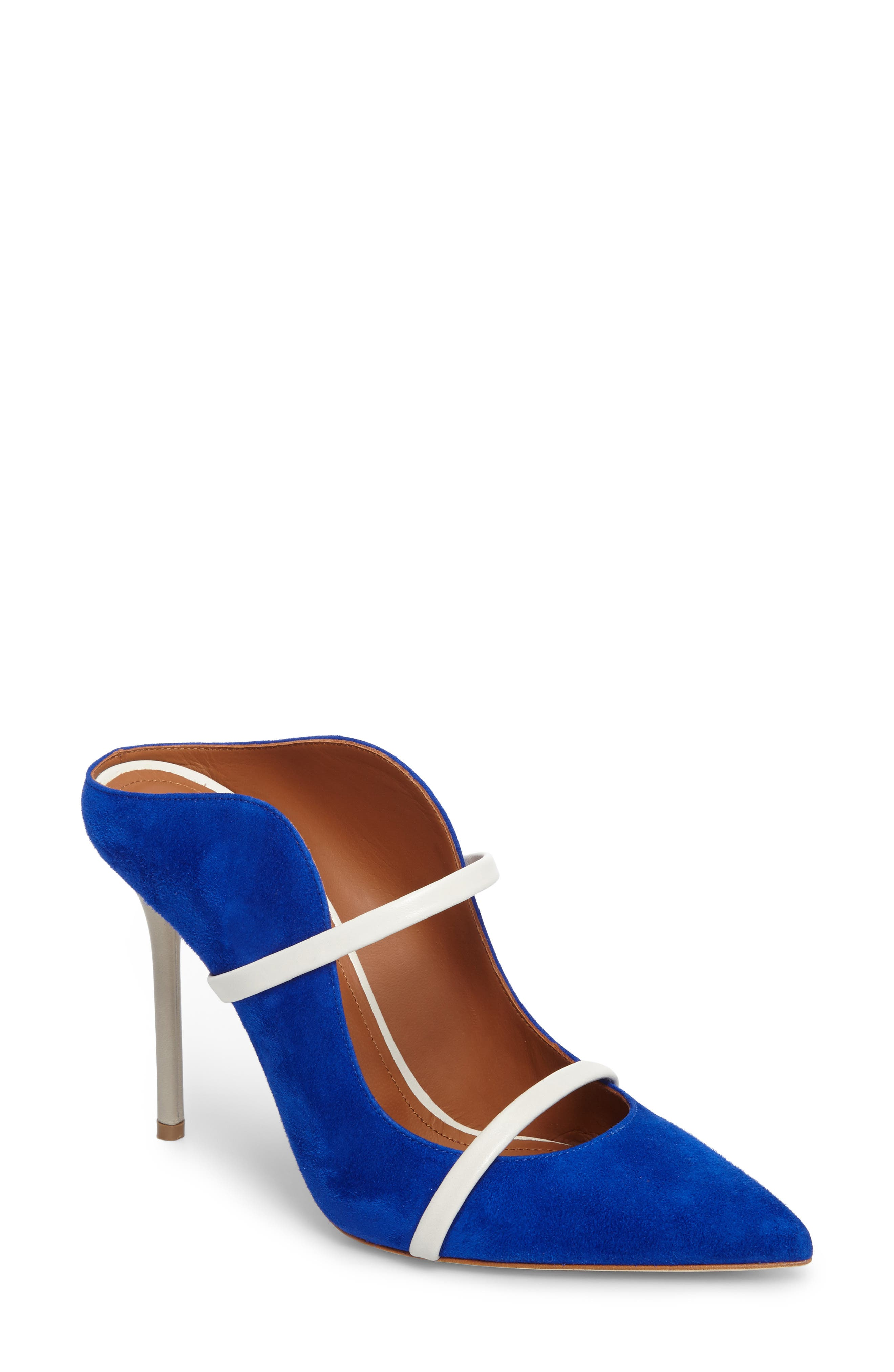 Maureen Double Band Mule,                         Main,                         color, Electric Blue/ Foam/ Grey