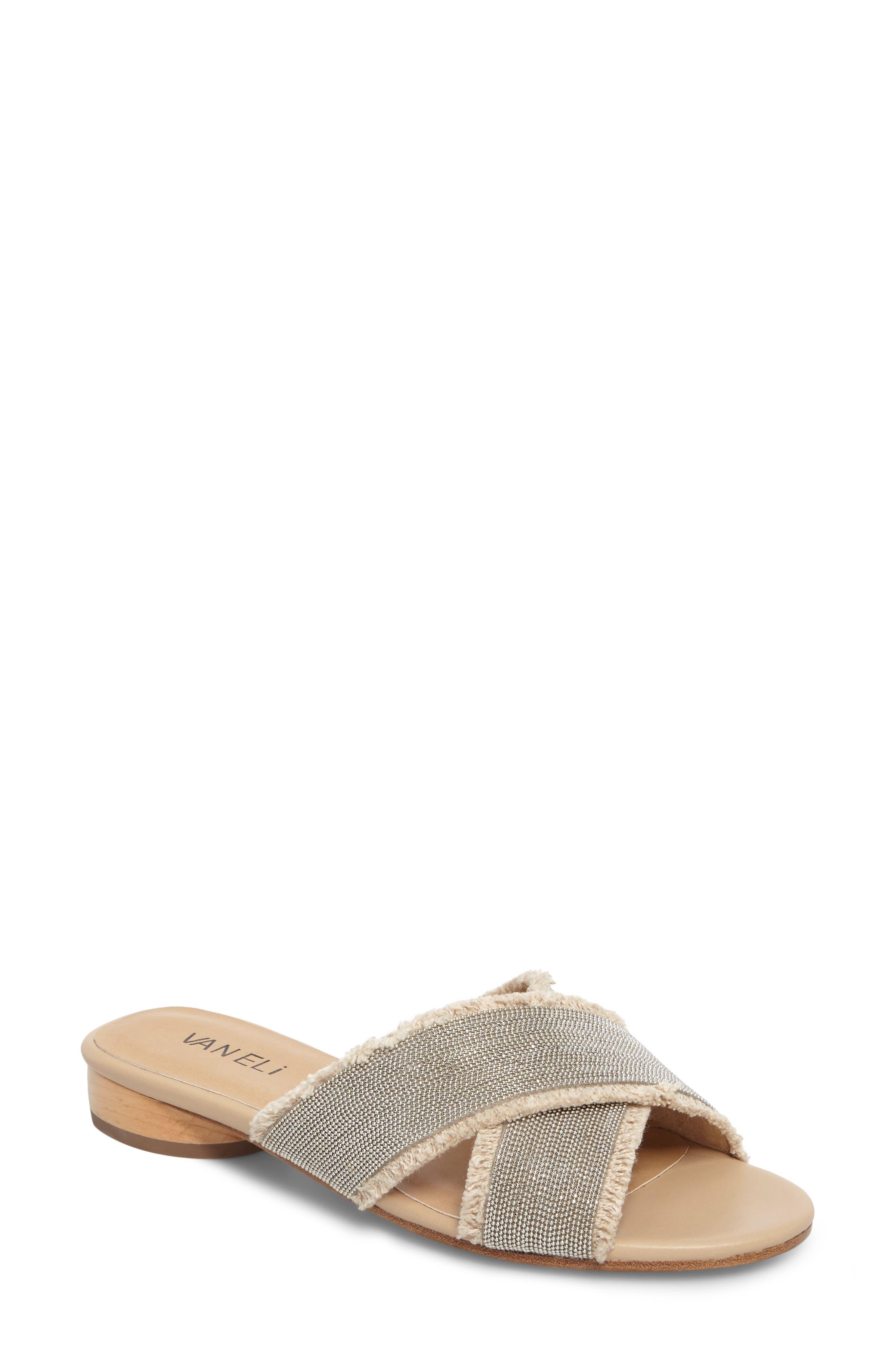 Baret Slide Sandal,                         Main,                         color, Natural Fabric