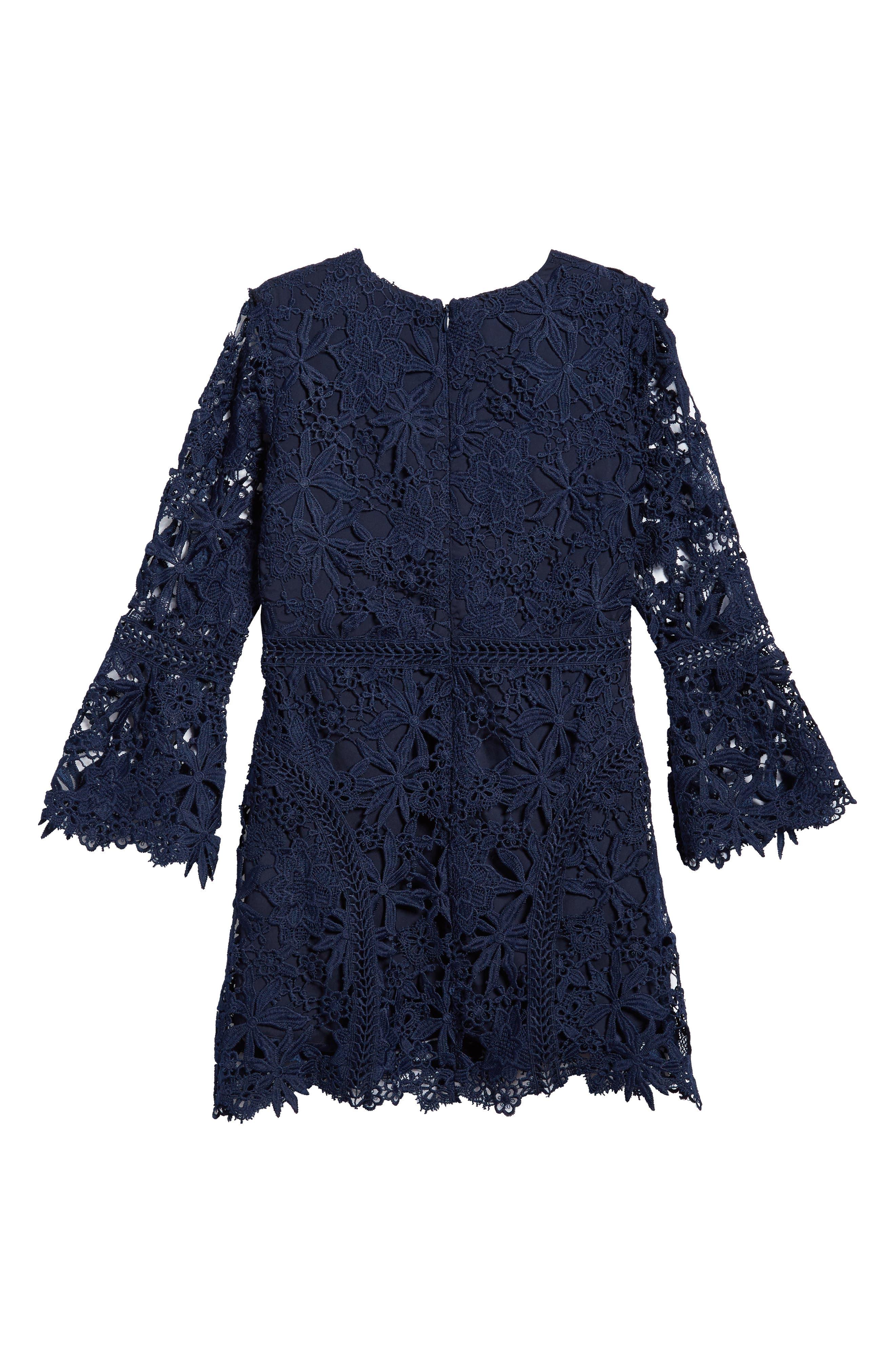Monroe Bell Sleeve Lace Dress,                             Alternate thumbnail 2, color,                             Navy