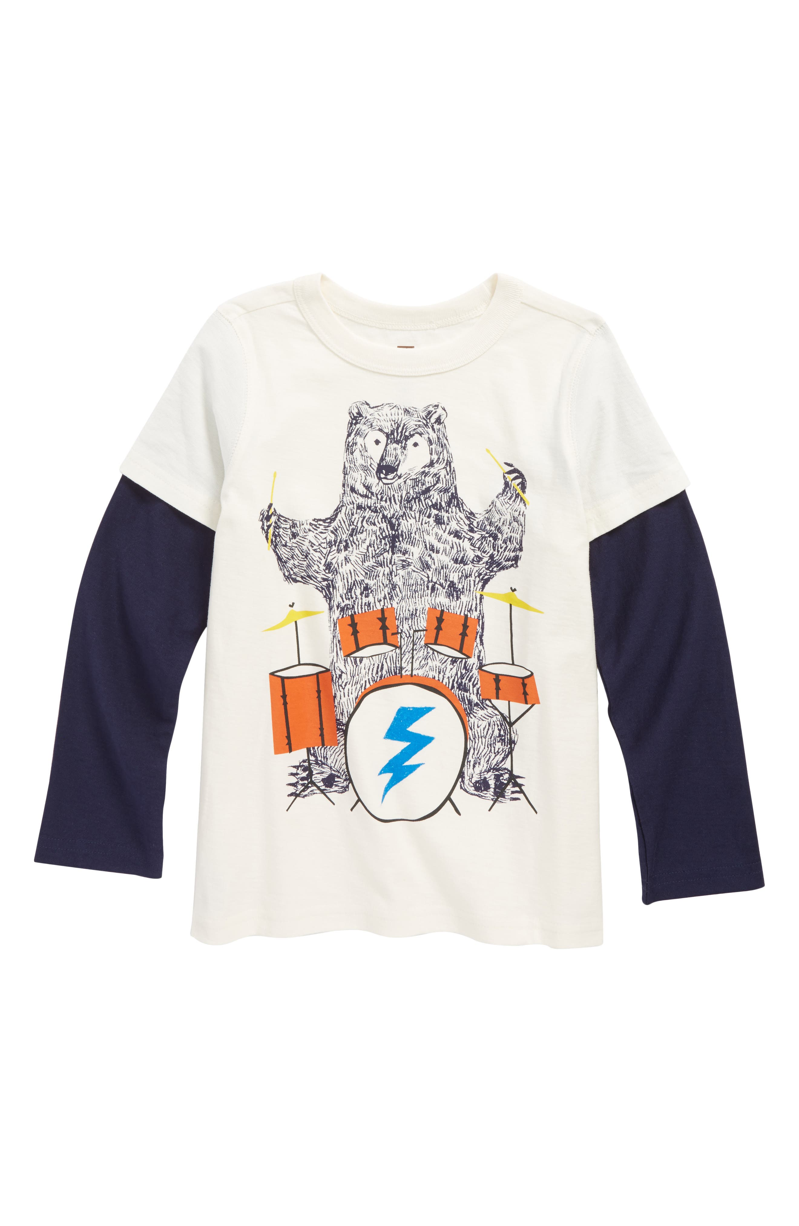 Alternate Image 1 Selected - Tea Collection Backbeat Bear Layer T-Shirt (Toddler Boys & Little Boys)