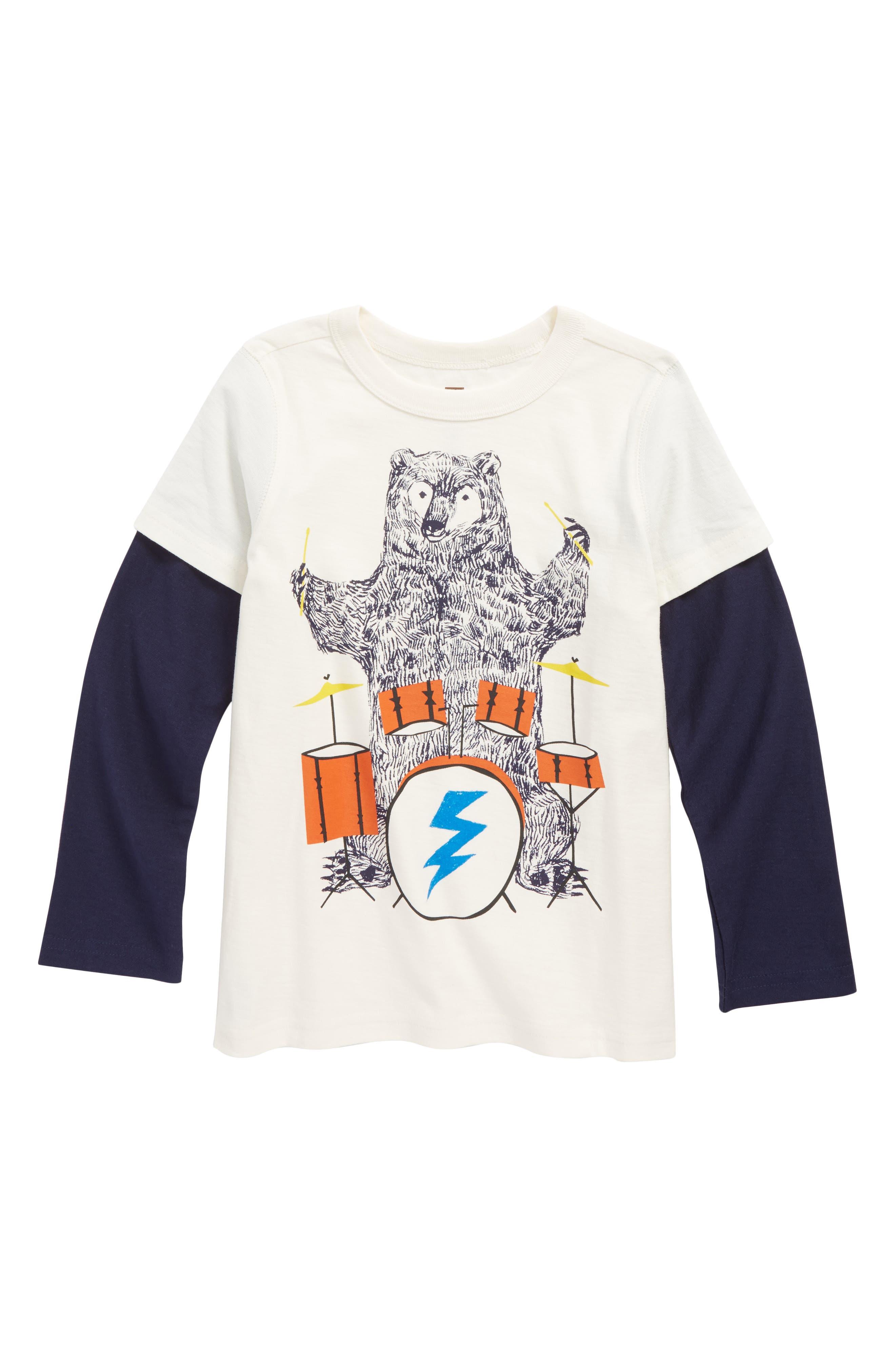 Backbeat Bear Layer T-Shirt,                         Main,                         color, Chalk