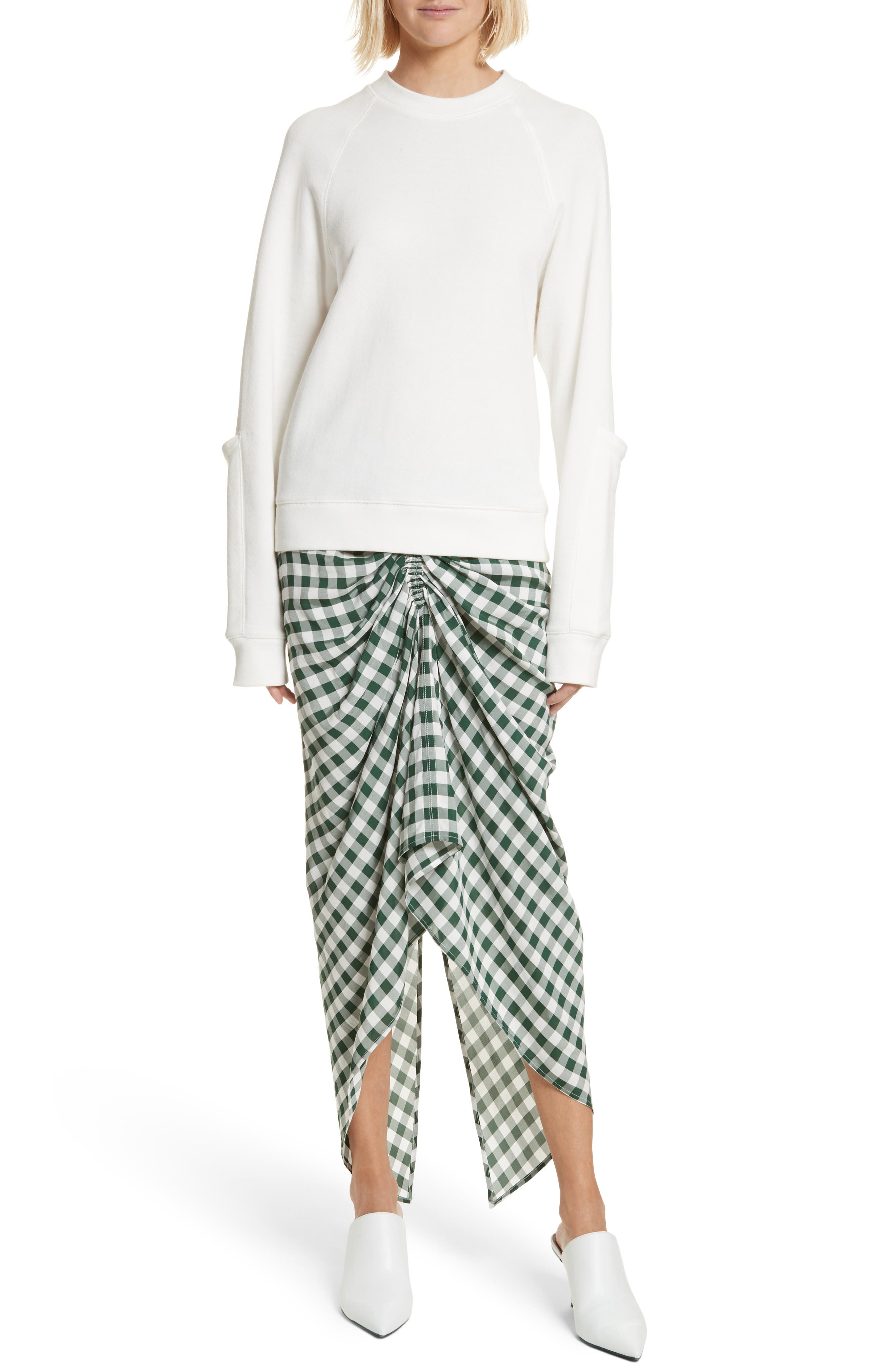 Roman Gingham Jacquard Skirt,                             Alternate thumbnail 7, color,                             Emerald