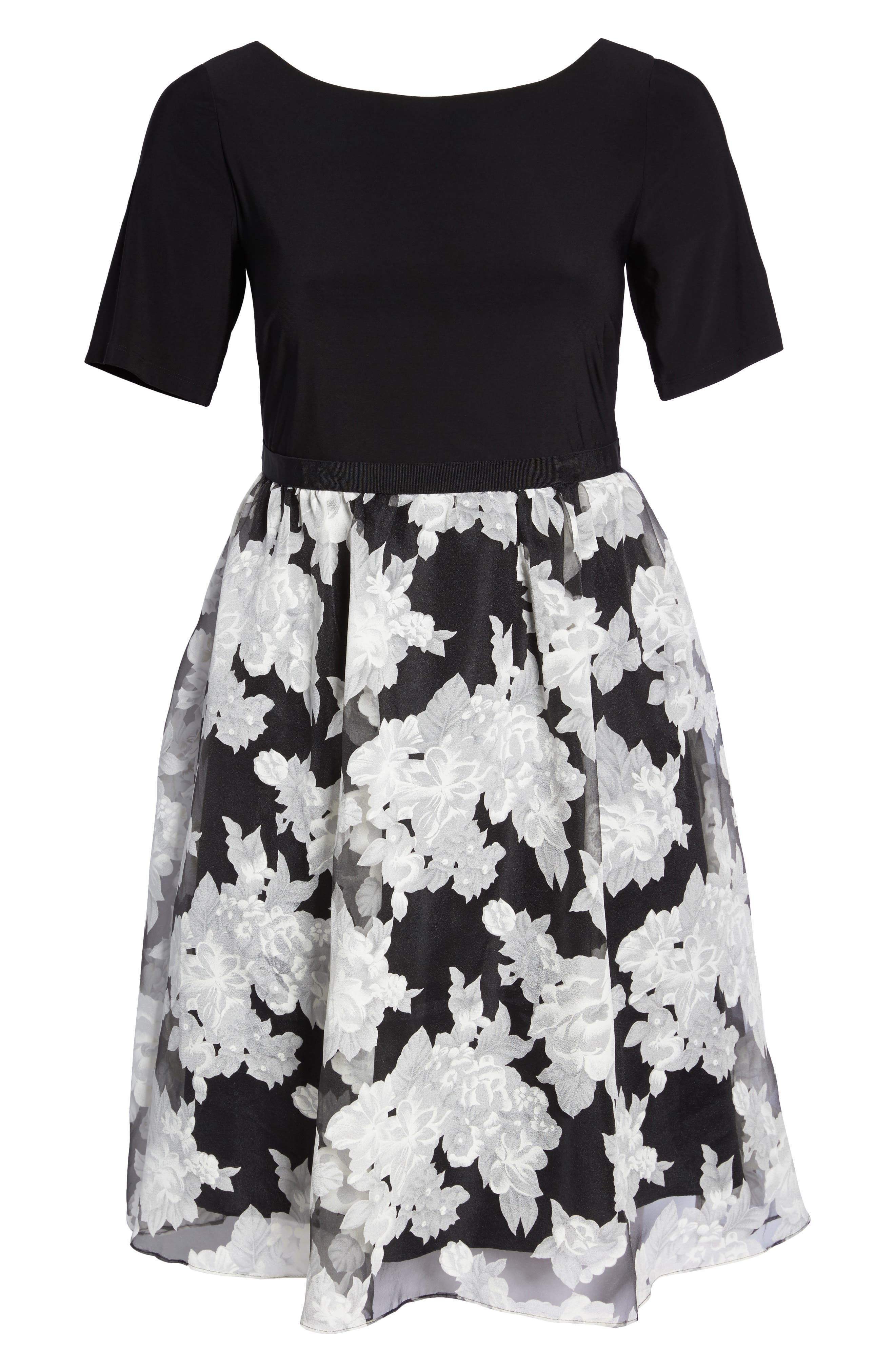 Print Organza Fit & Flare Dress,                             Alternate thumbnail 6, color,                             Black/ Ivory