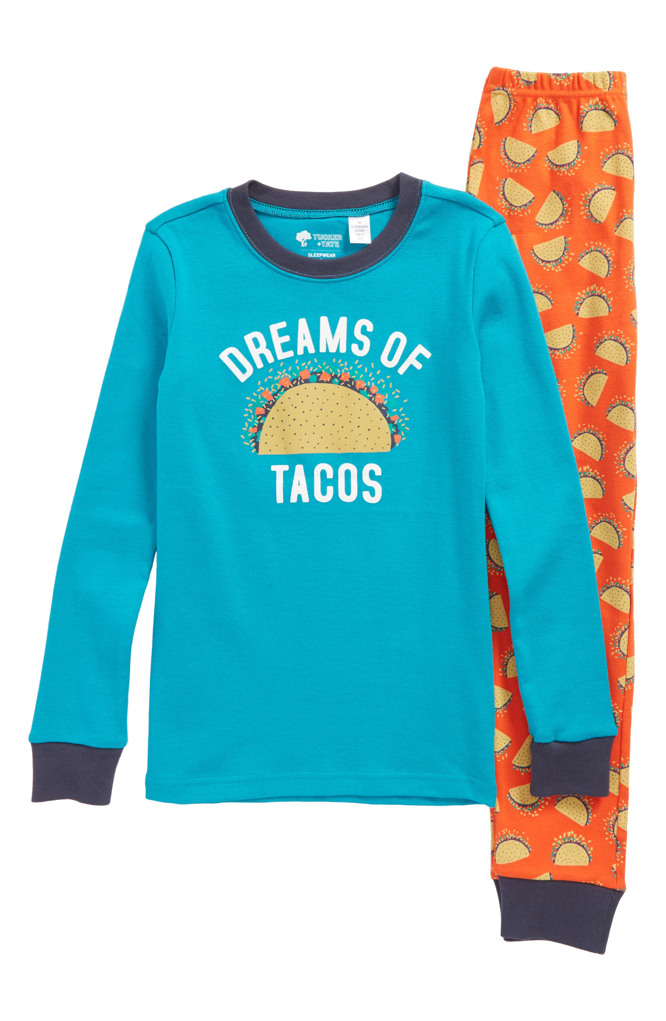Fitted Two-Piece Pajamas,                         Main,                         color, Blue Tile- Orange Tacos