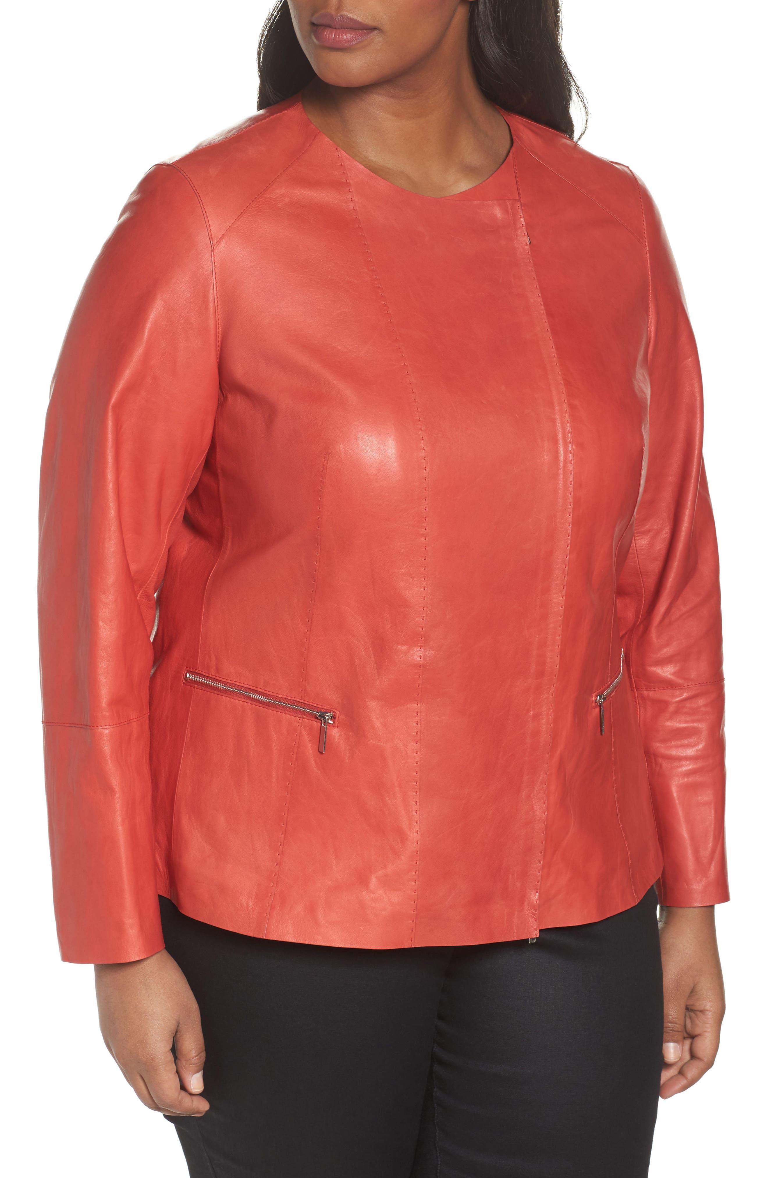 Alternate Image 4  - Lafayette 148 New York Caridee Glazed Lambskin Leather Jacket (Plus Size)