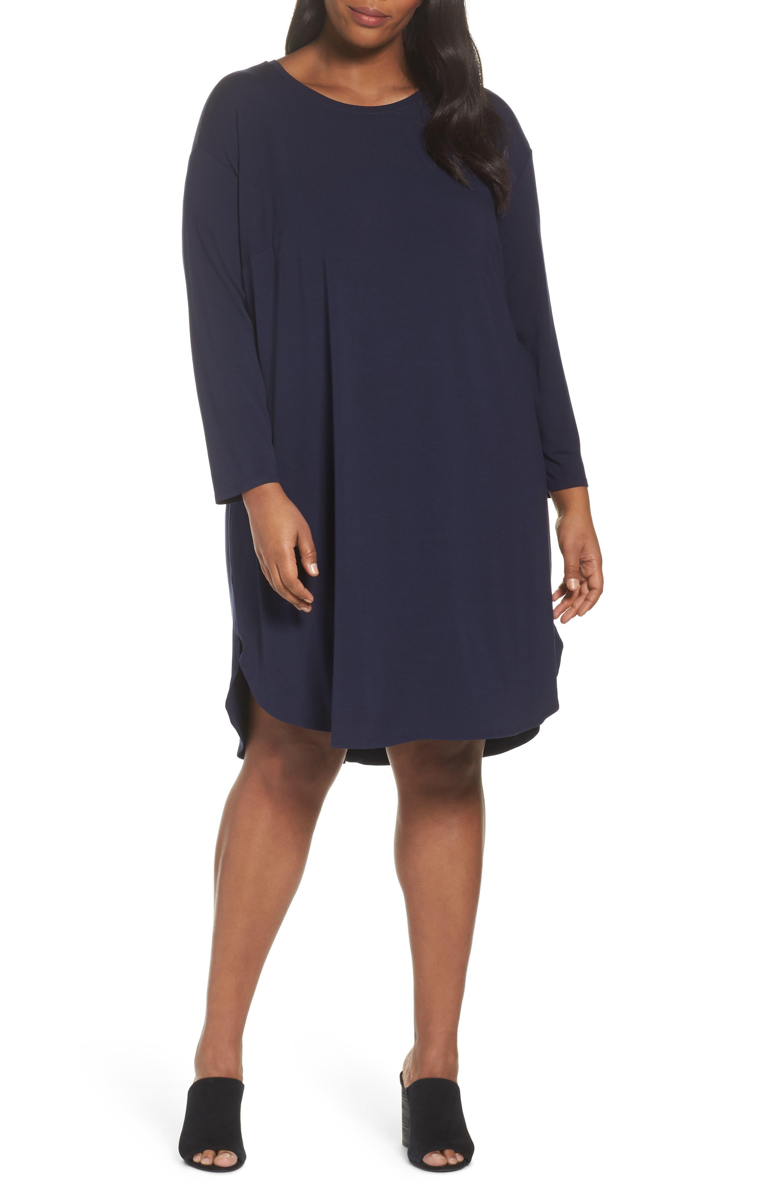 Jersey Shift Dress,                             Main thumbnail 1, color,                             Midnight