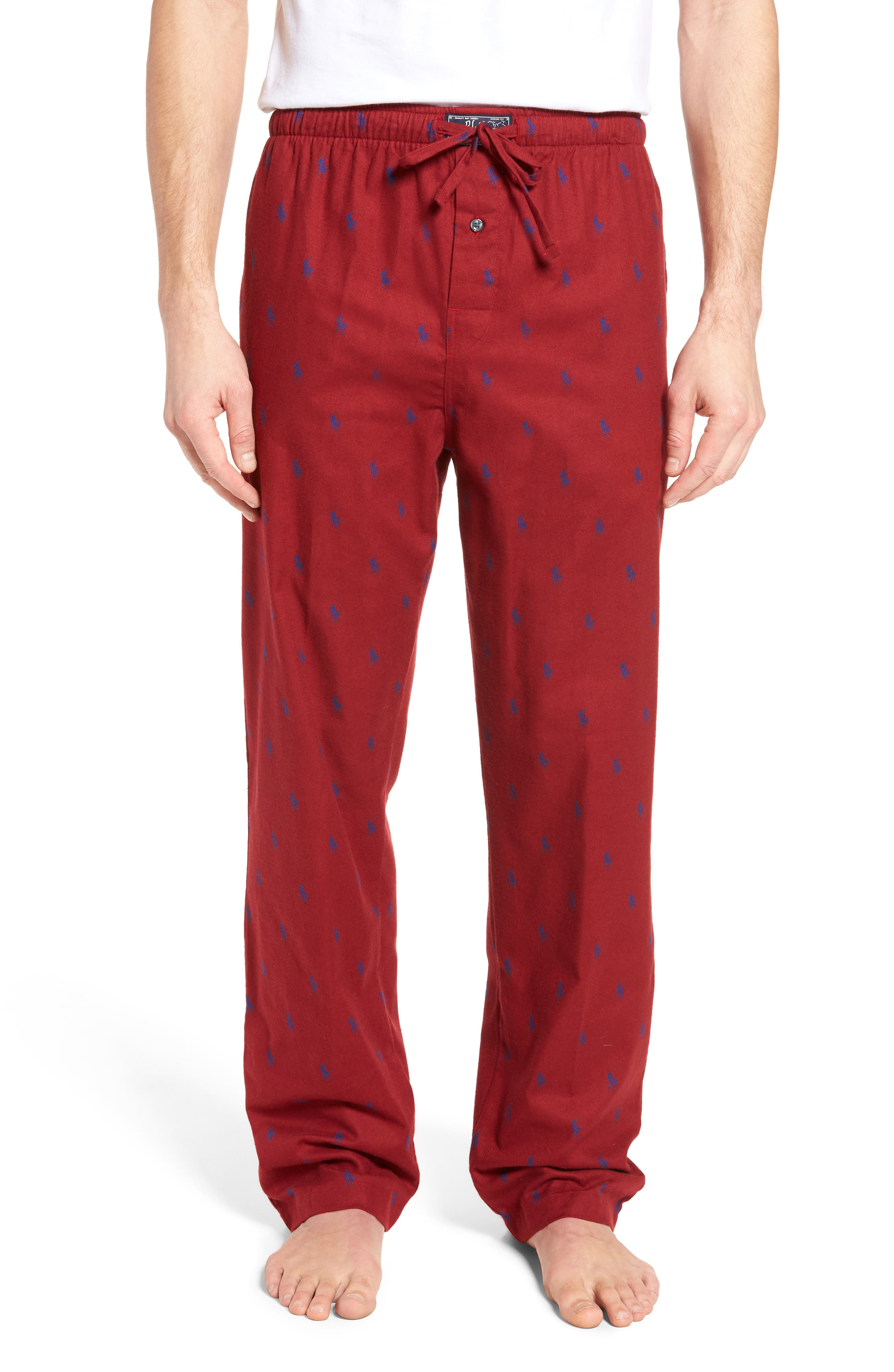 Brushed Flannel Pajama Pants,                         Main,                         color, Avenue Red/ Royal
