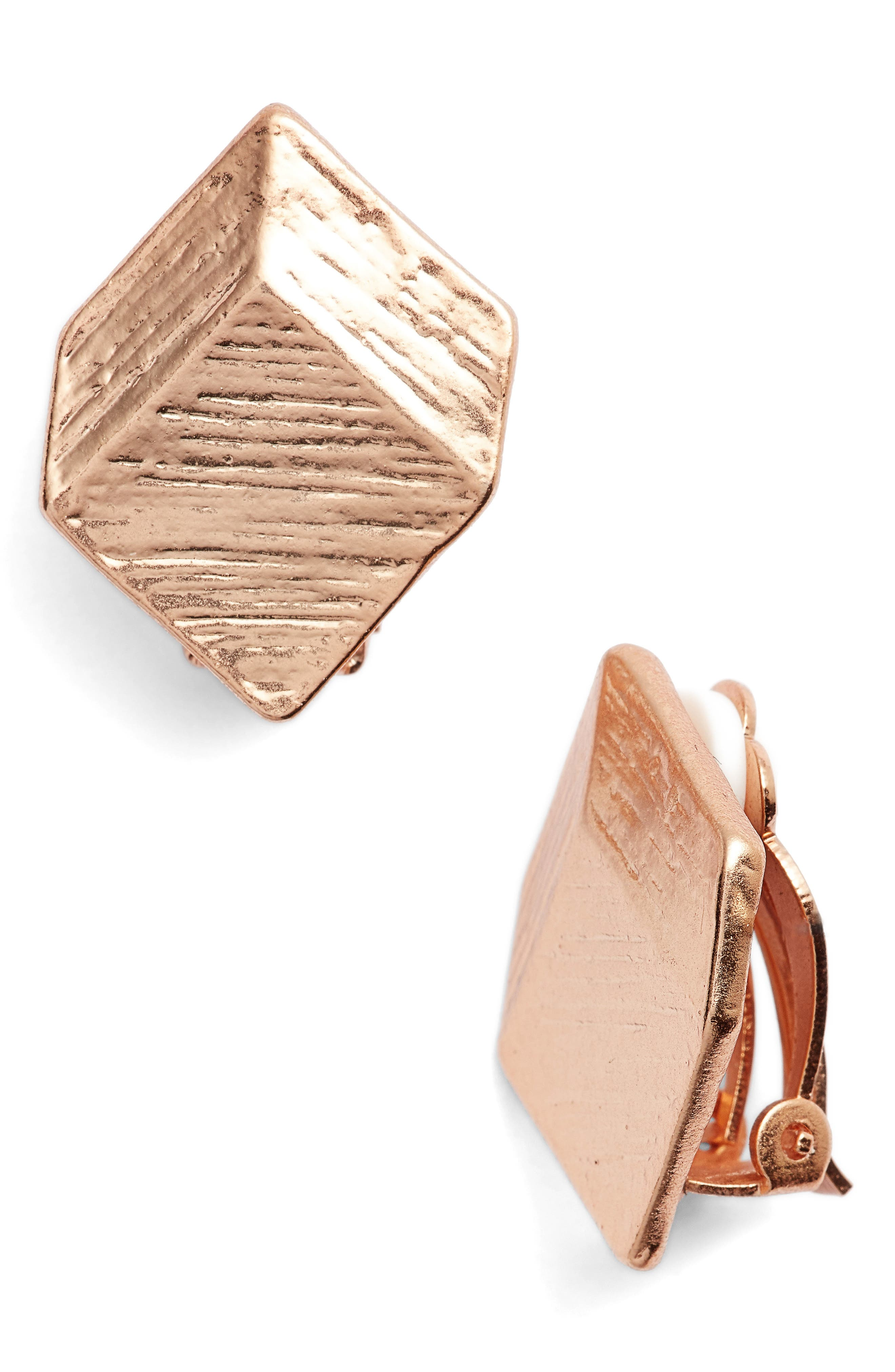 Brushed Square Clip-On Earrings,                             Main thumbnail 1, color,                             Rose Gold
