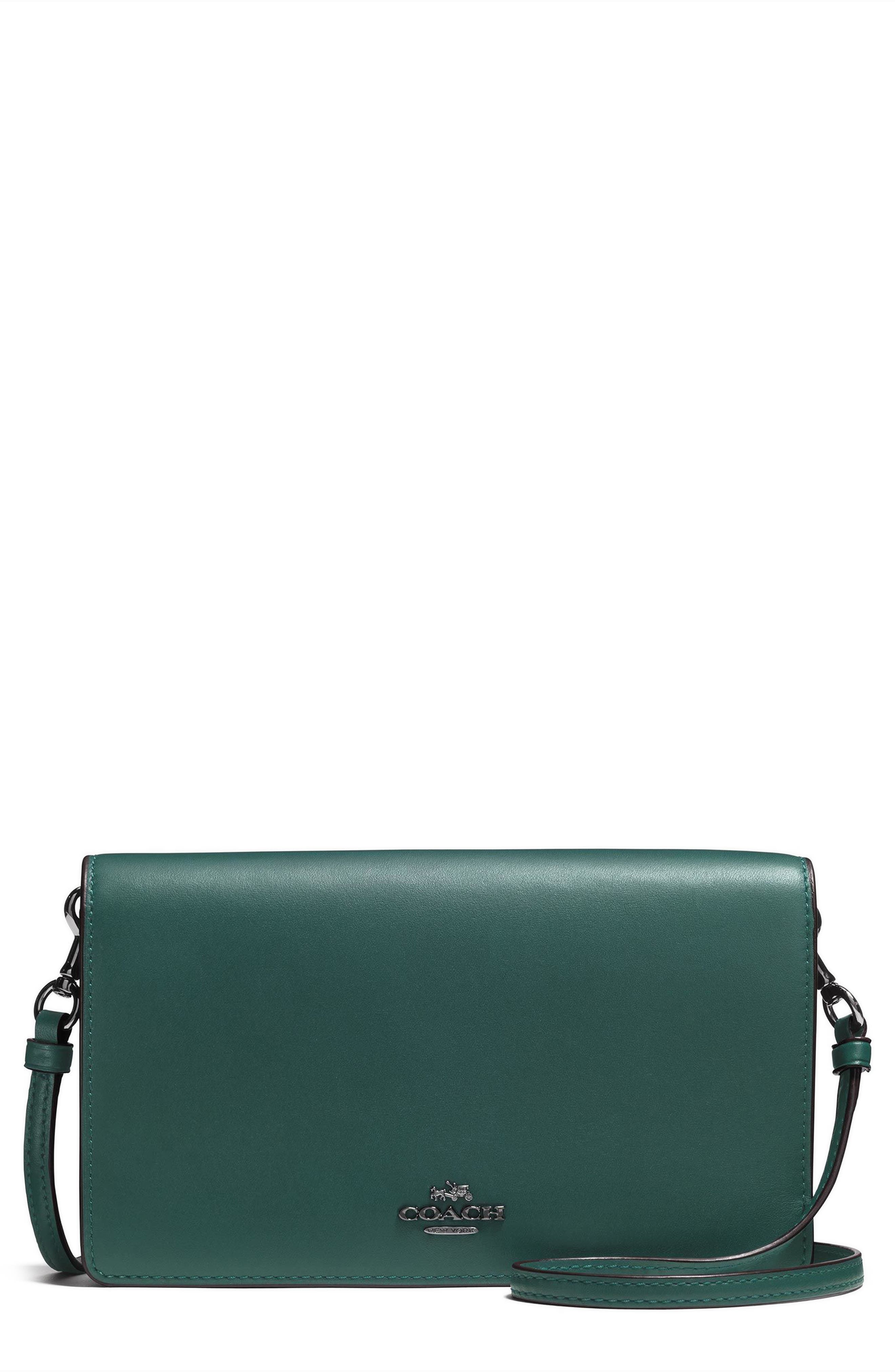 Calfskin Leather Foldover Convertible Clutch,                         Main,                         color, Dark Turquoise