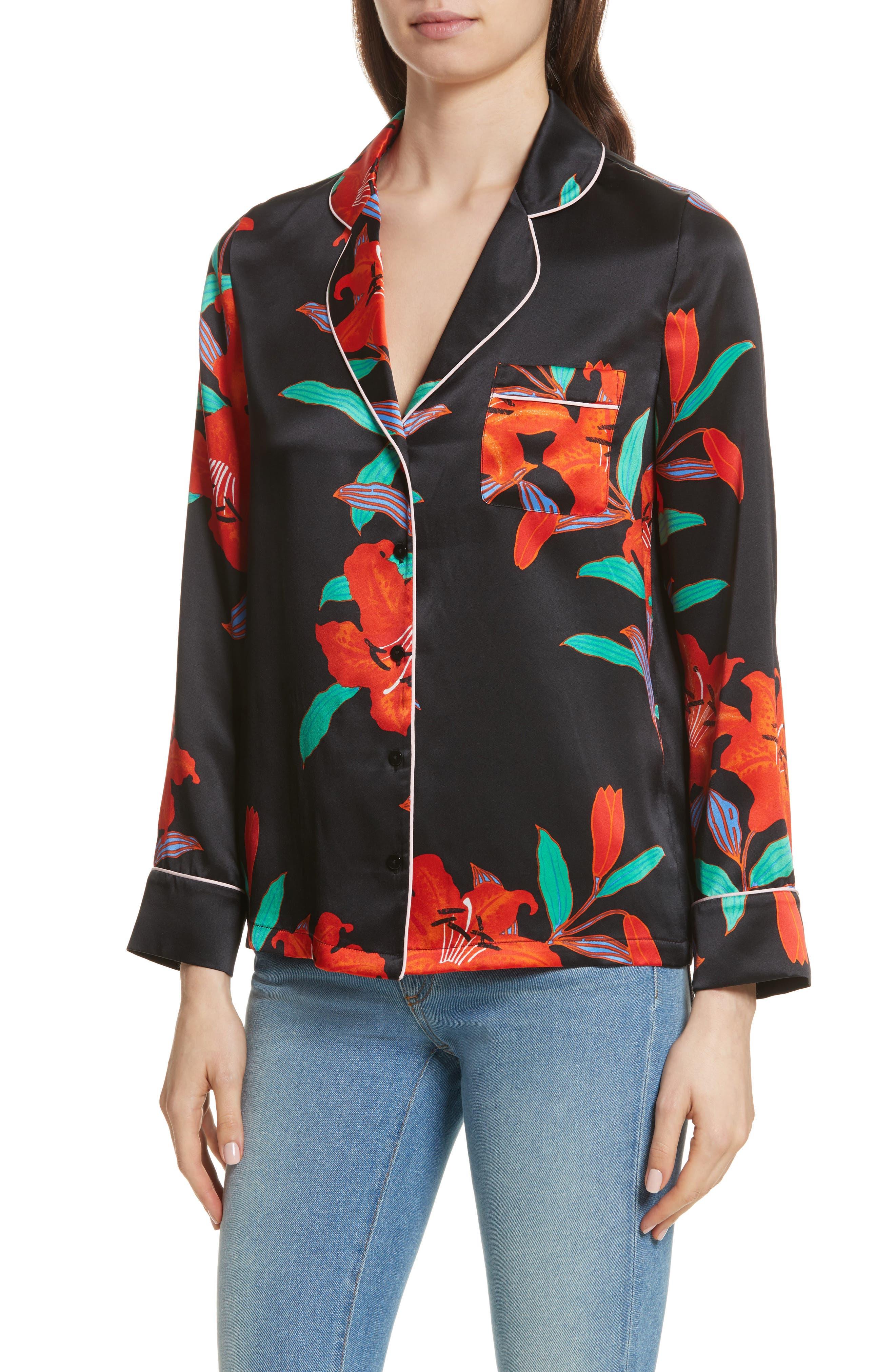 Pajama Silk Shirt,                             Alternate thumbnail 4, color,                             Argos Black/ Powder Pink