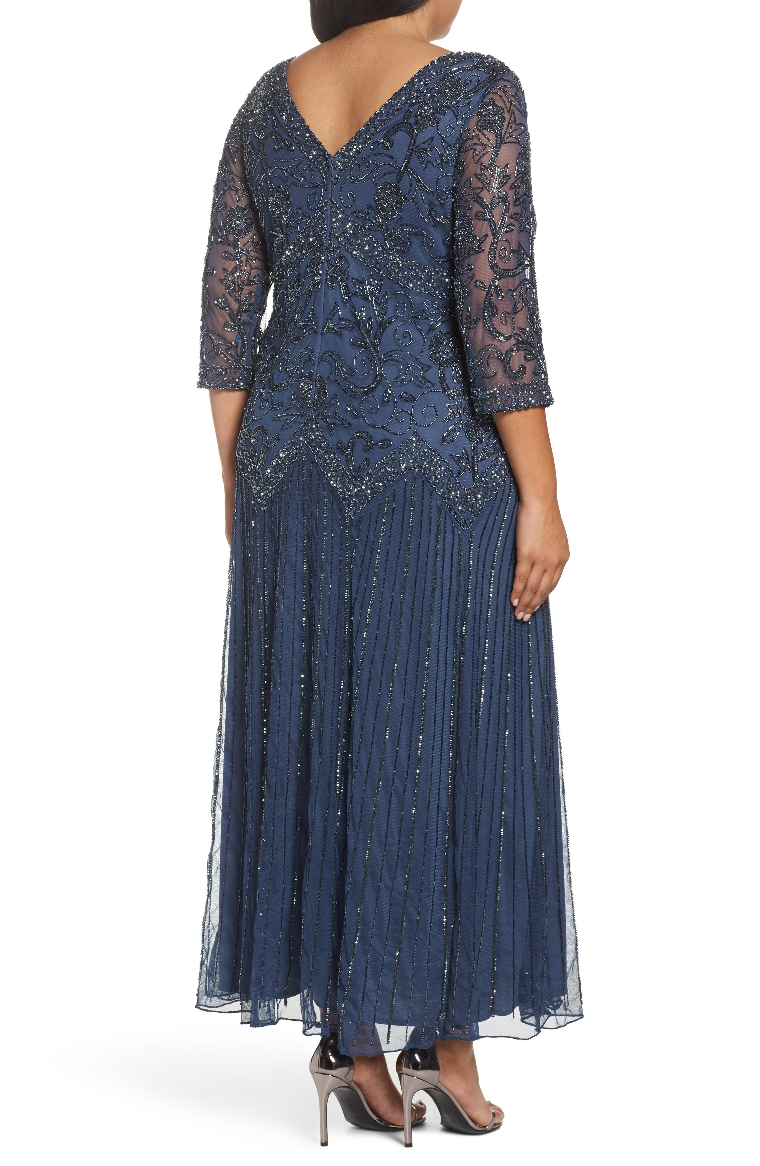 Alternate Image 2  - Pisarro Nights Embellished Double V-Neck Midi Dress (Plus Size)
