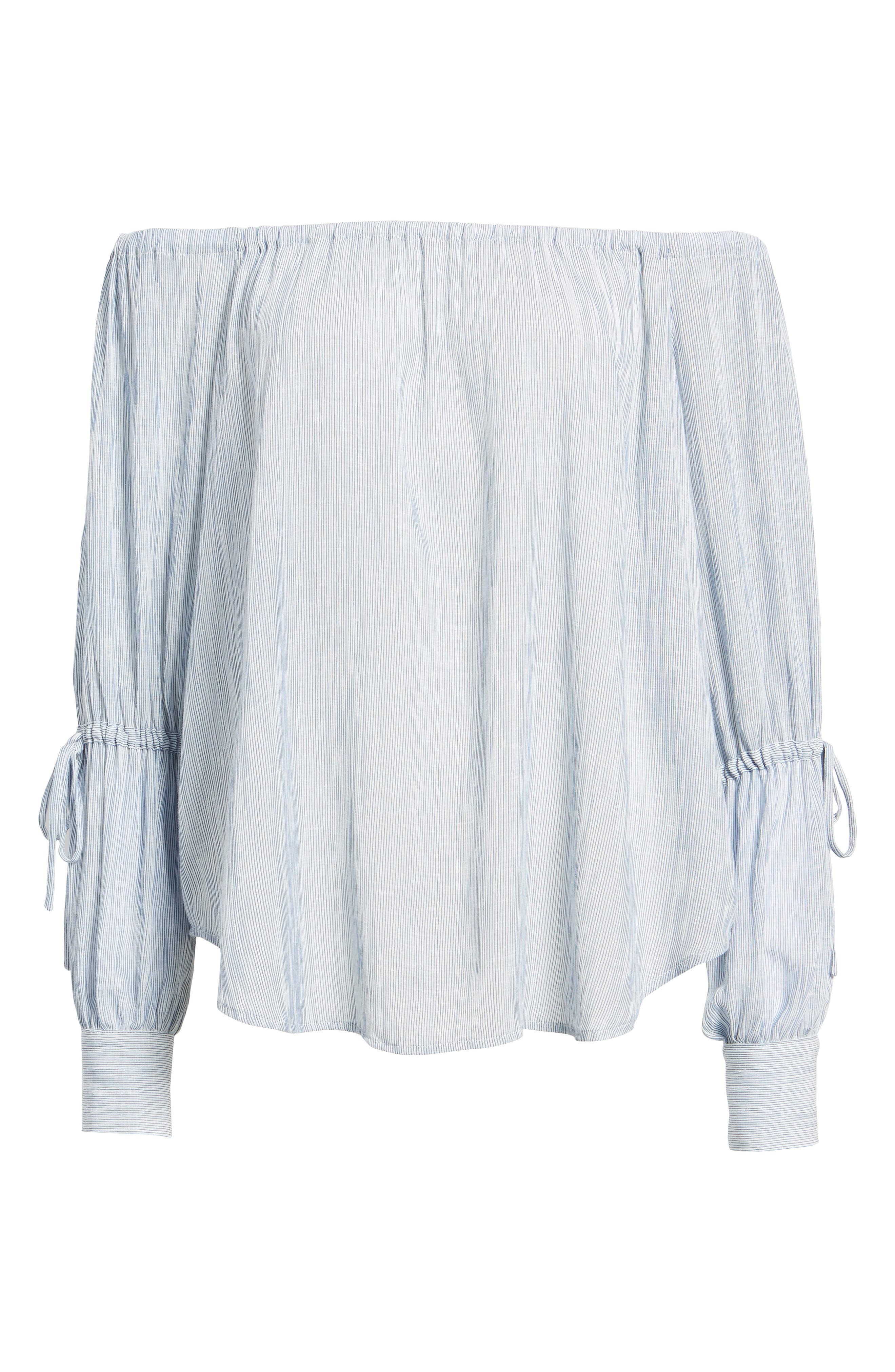 Tallulah Off the Shoulder Blouse,                             Alternate thumbnail 6, color,                             Navy/ White