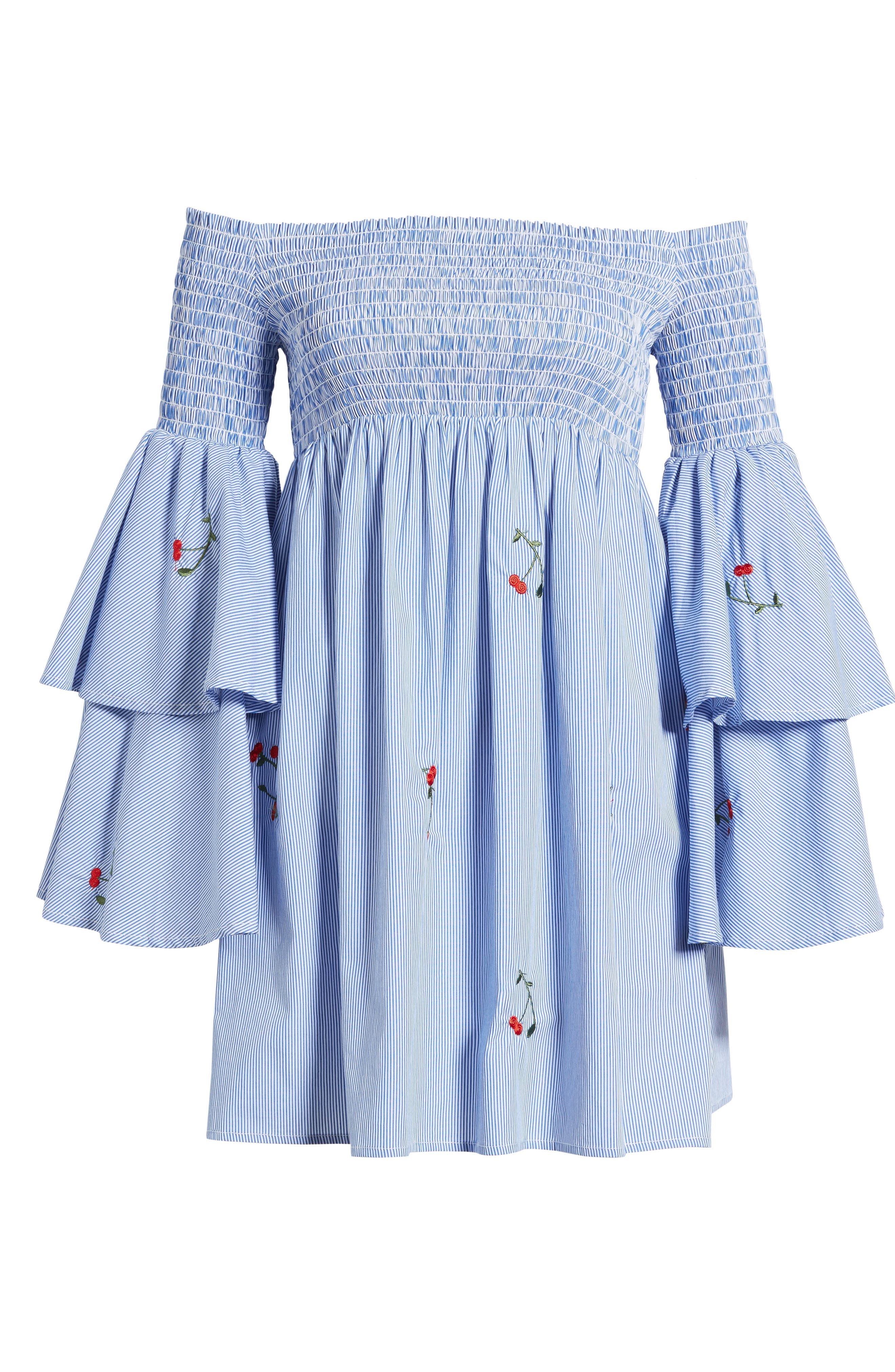Smocked Off the Shoulder Bell Sleeve Dress,                             Alternate thumbnail 6, color,                             Blue