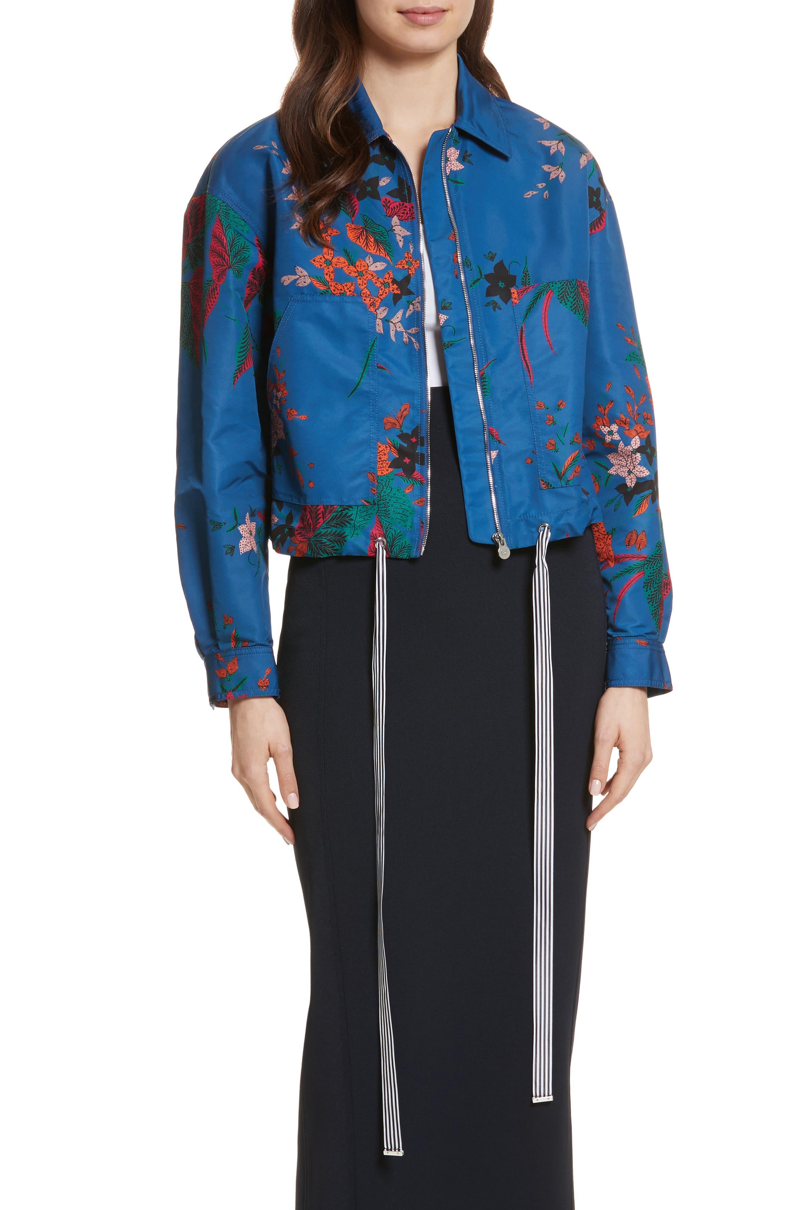 Diane von Furstenberg Floral Bomber Jacket