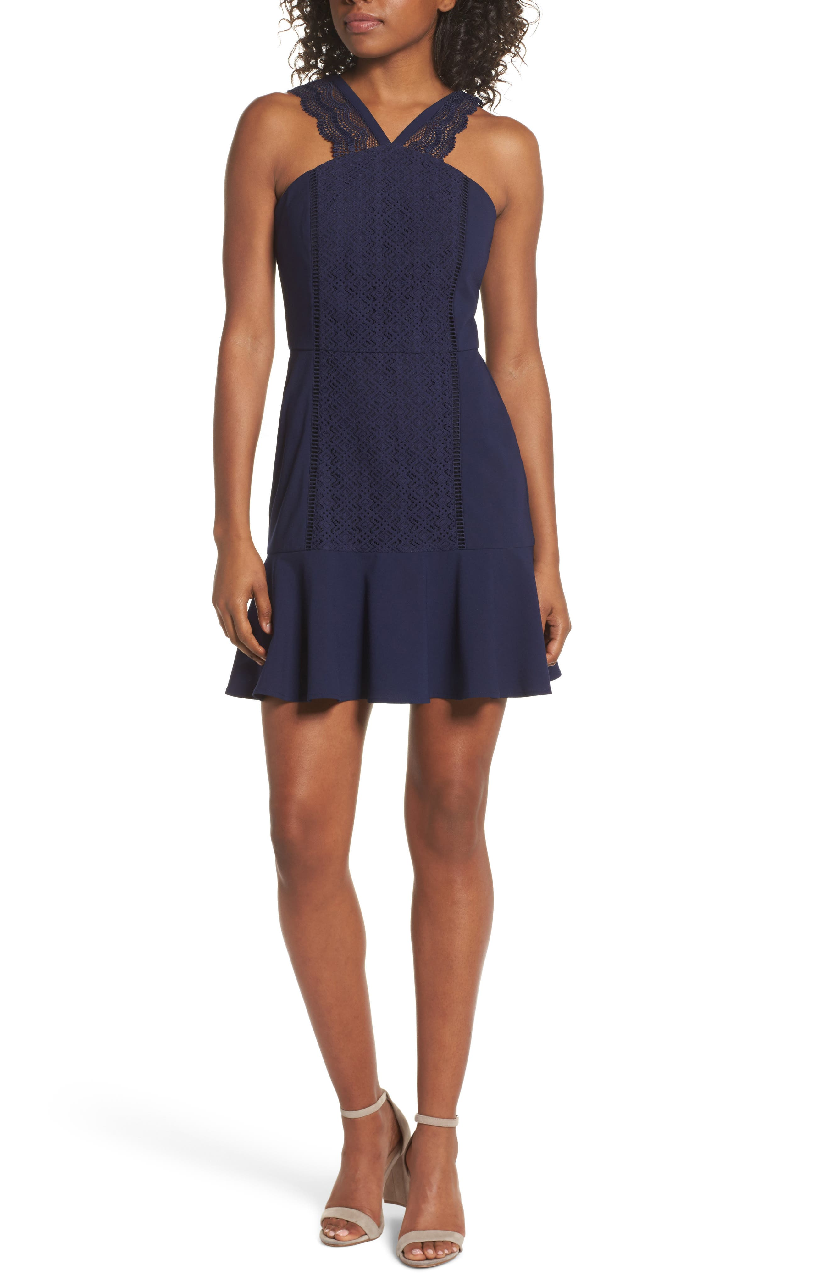 Mila Lace Fit & Flare Dress,                         Main,                         color, Navy