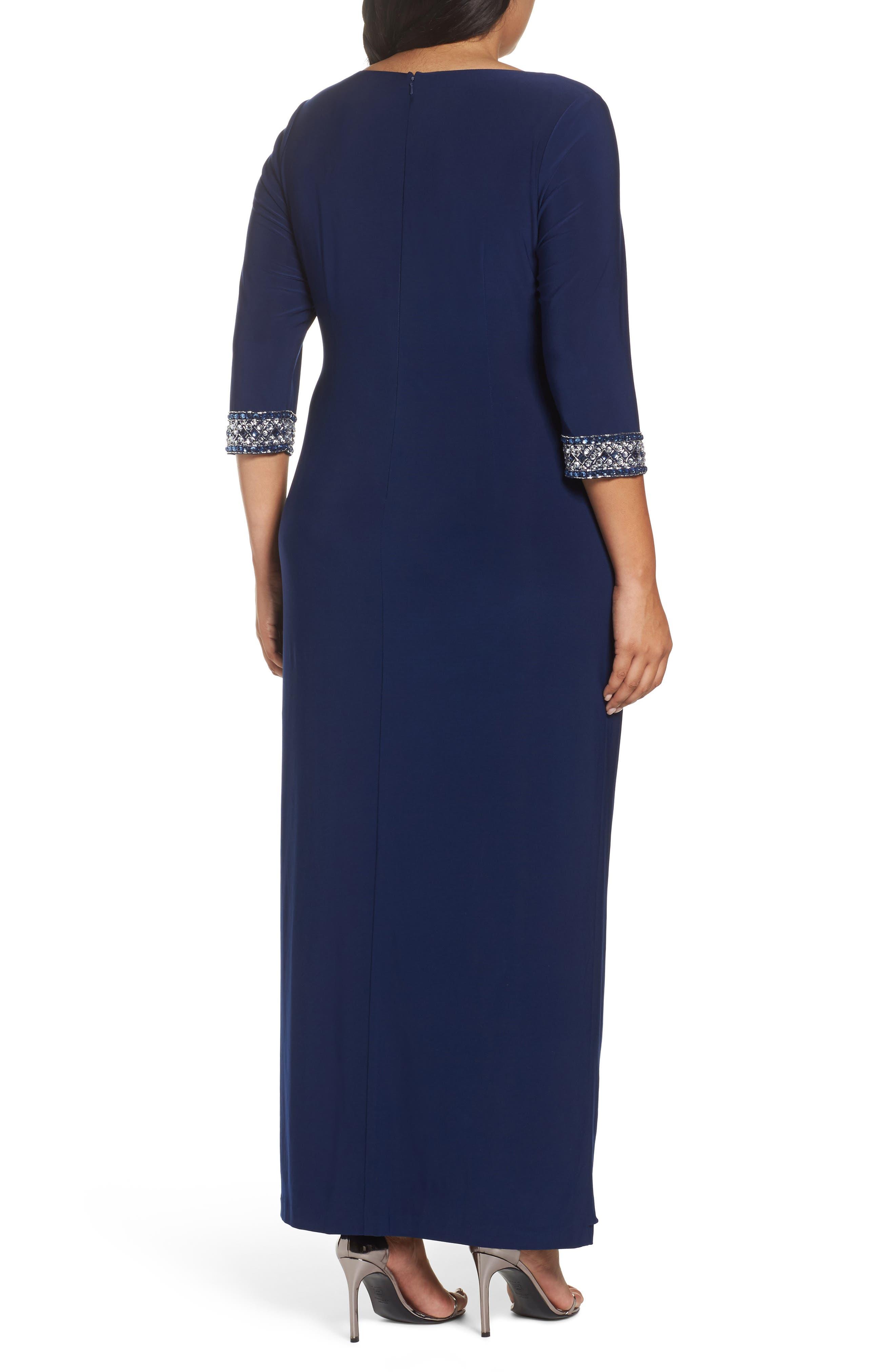 Embellished Faux Wrap Gown,                             Alternate thumbnail 2, color,                             Cobalt
