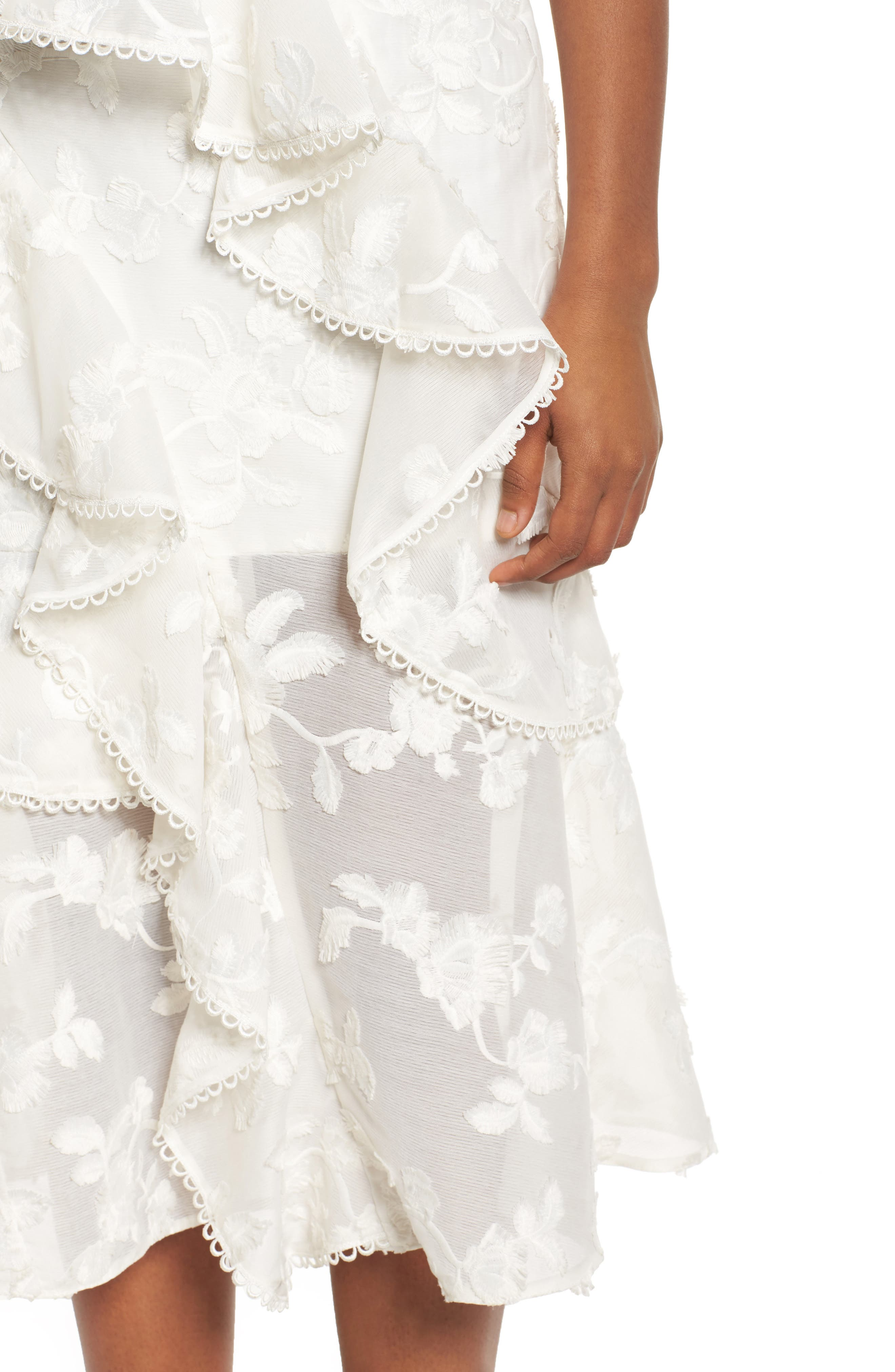 Shine Ruffle Lace Tea Length Dress,                             Alternate thumbnail 4, color,                             Ivory